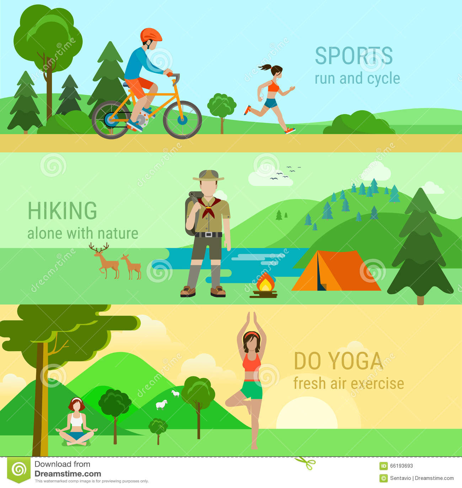 Insieme moderno di stile piano delle attività all aperto di sport La corsa  di riciclaggio della bicicletta fa l yoga che fa un escursione da solo con  la ... f49d8d3ca68