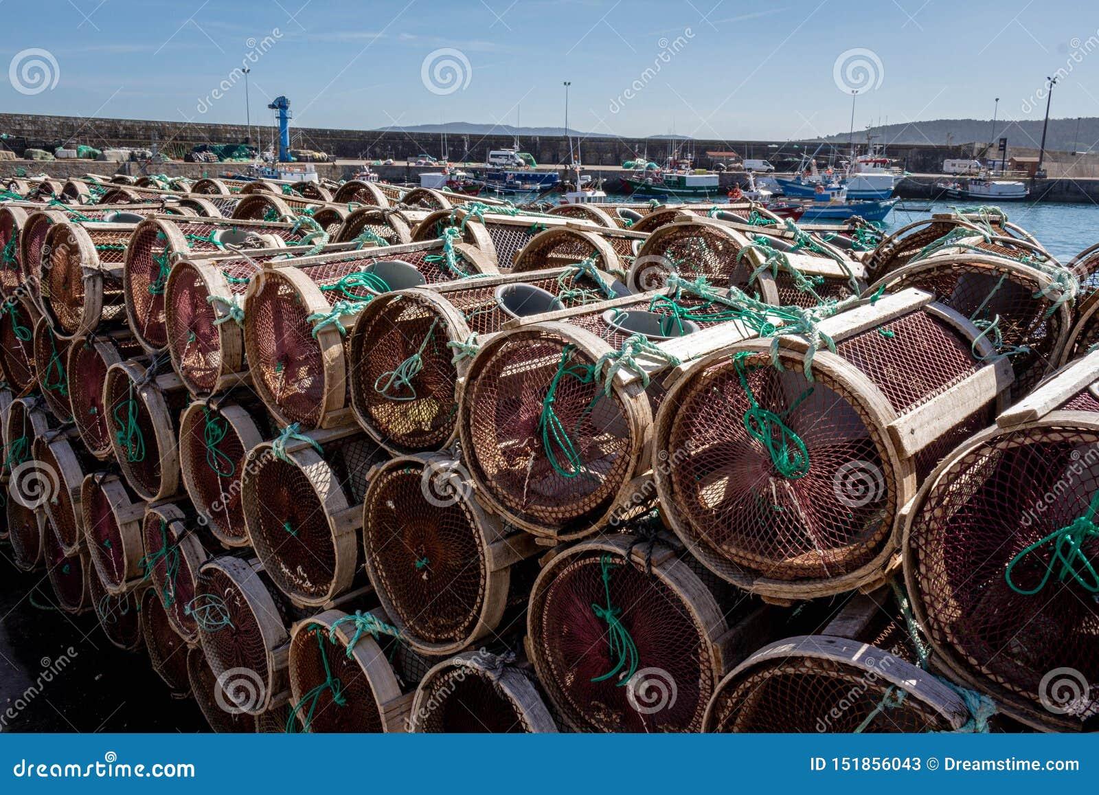 Le attrezzature di Fishermans nel porto di Laxe Spagna