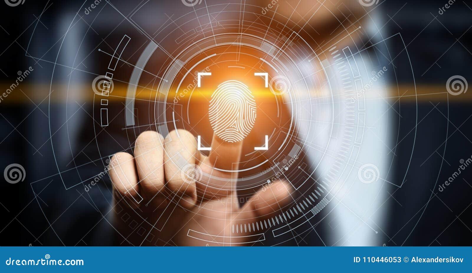 Le balayage d empreinte digitale fournit à l accès de sécurité l identification de biométrie Concept d Internet de sécurité de te