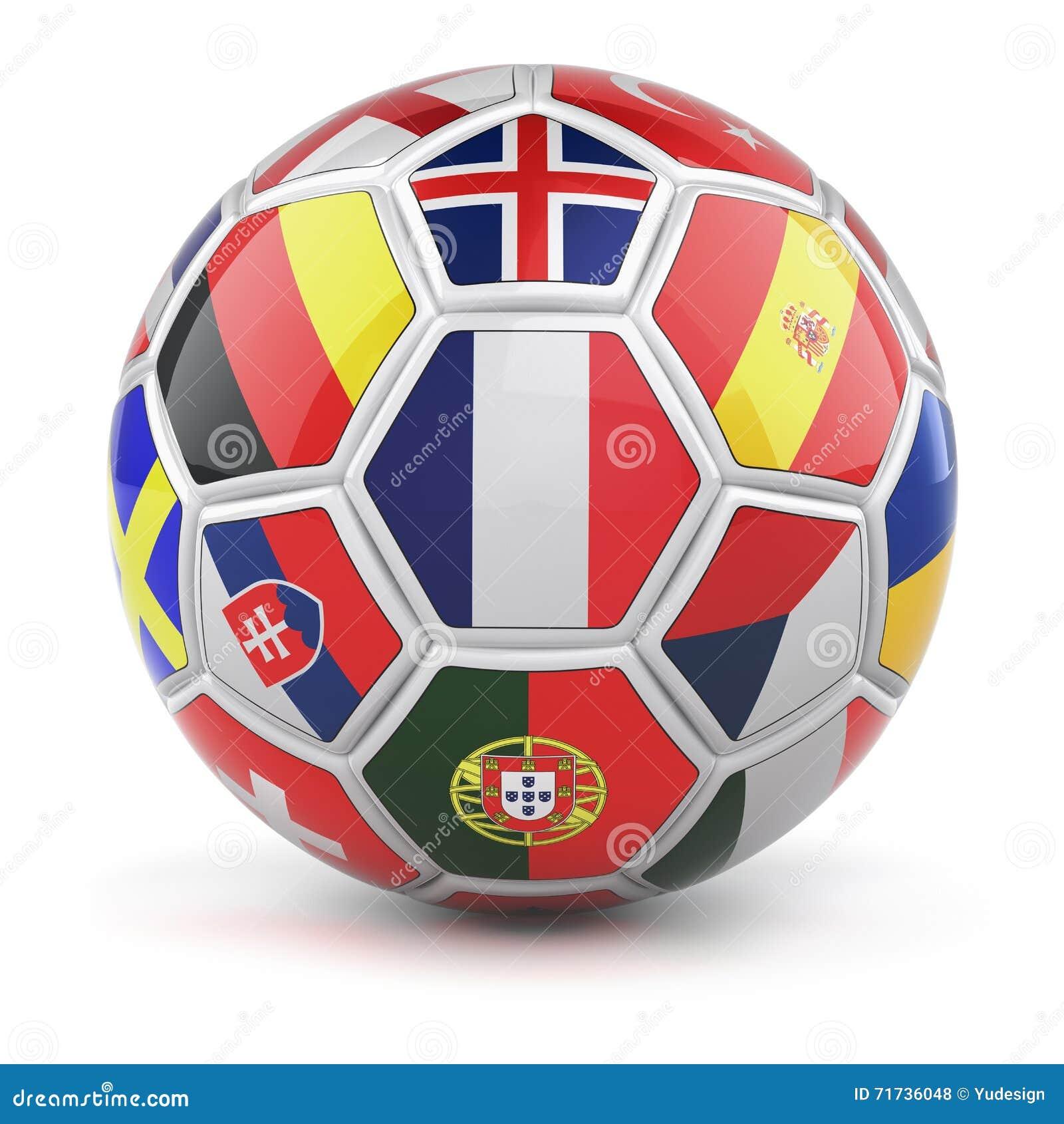 Le ballon de football avec des drapeaux des nations qualifiées teams pour l euro 2016
