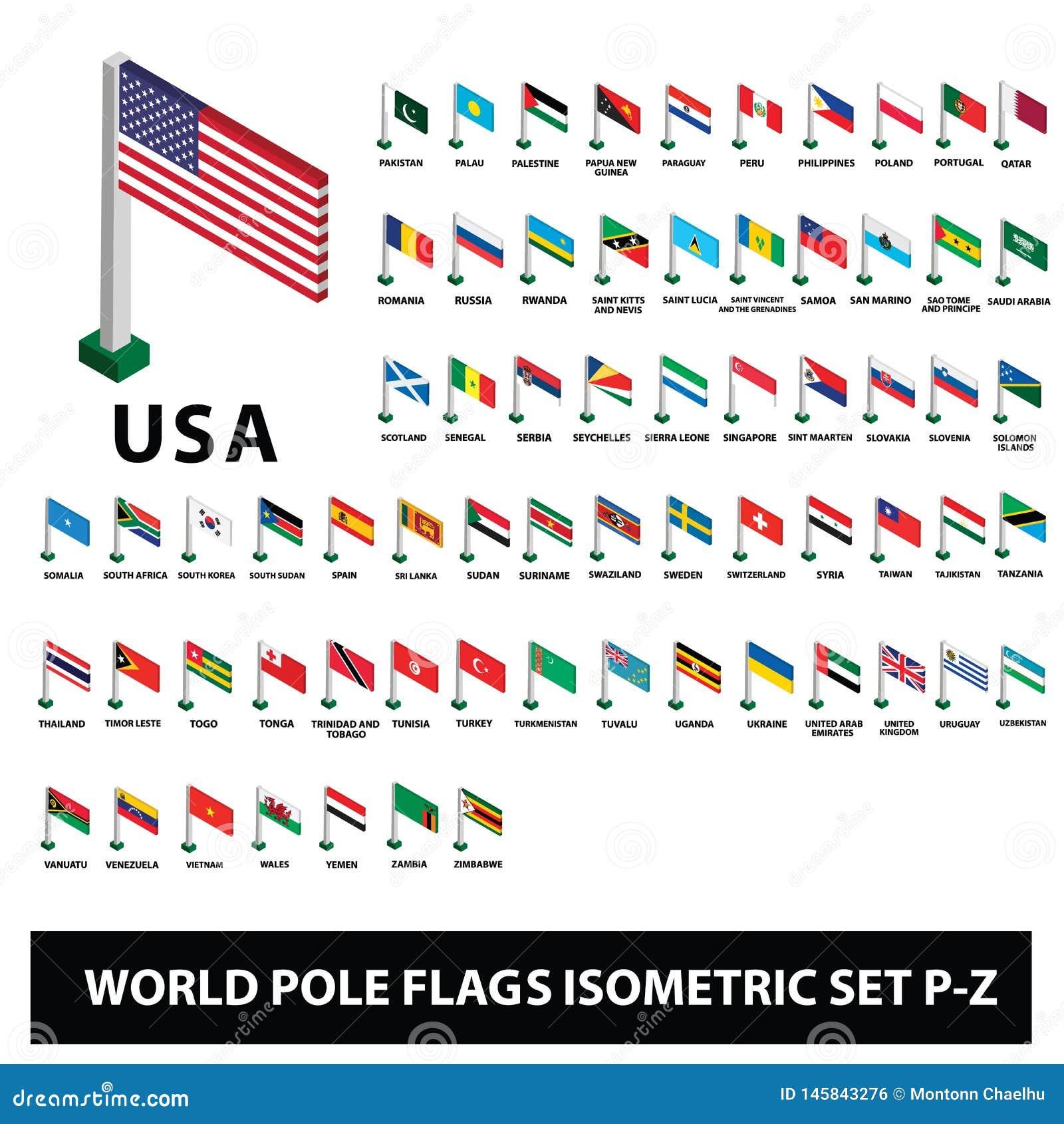 Le bandiere della raccolta Palo dei paesi del mondo inbandiera l insieme isometrico P-Z