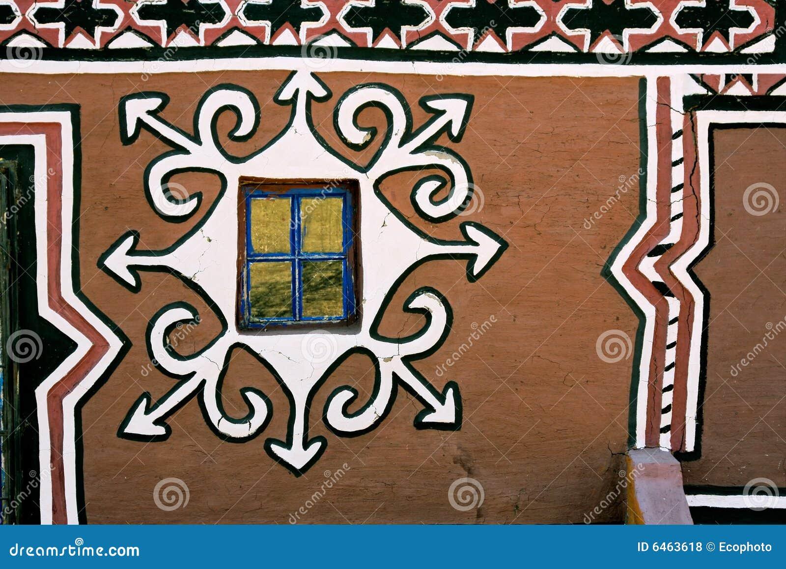 Le basuthu a décoré la hutte