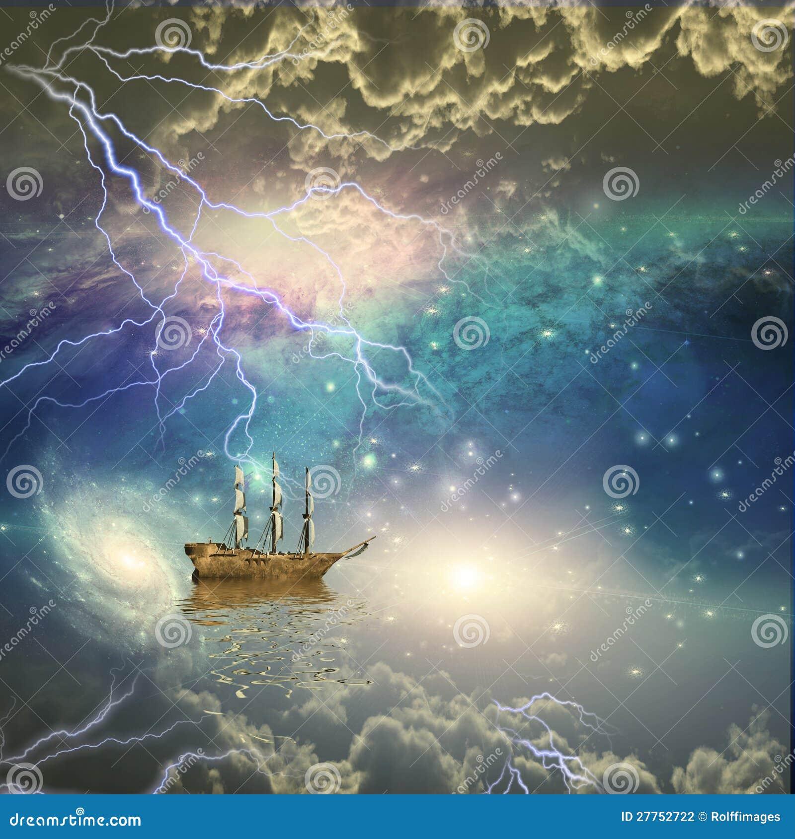 Le bateau de navigation navigue les étoiles