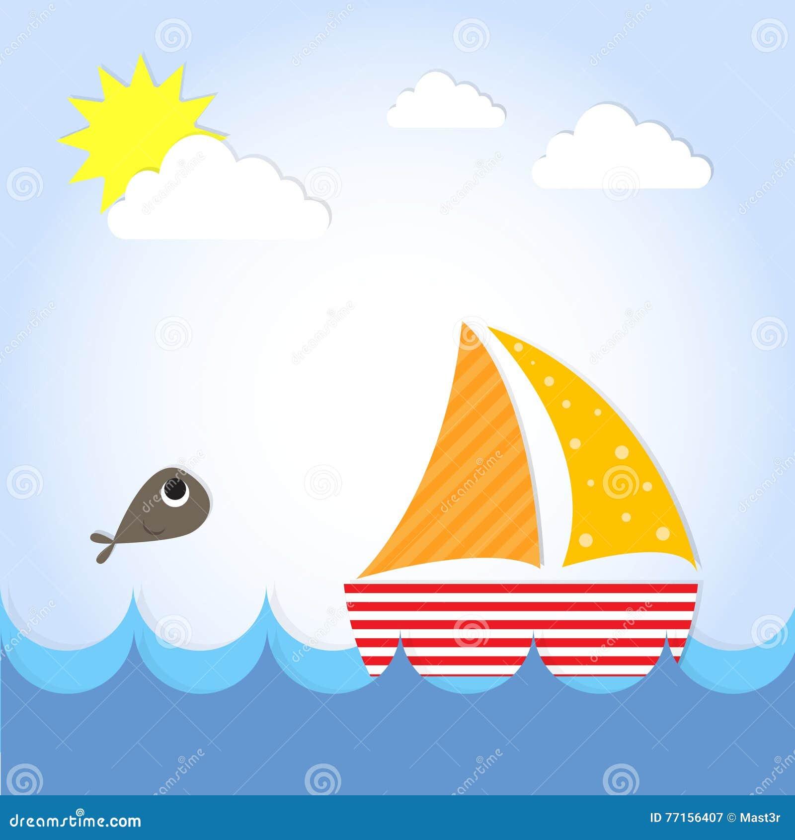 Le bateau de yacht de voile voient dessus