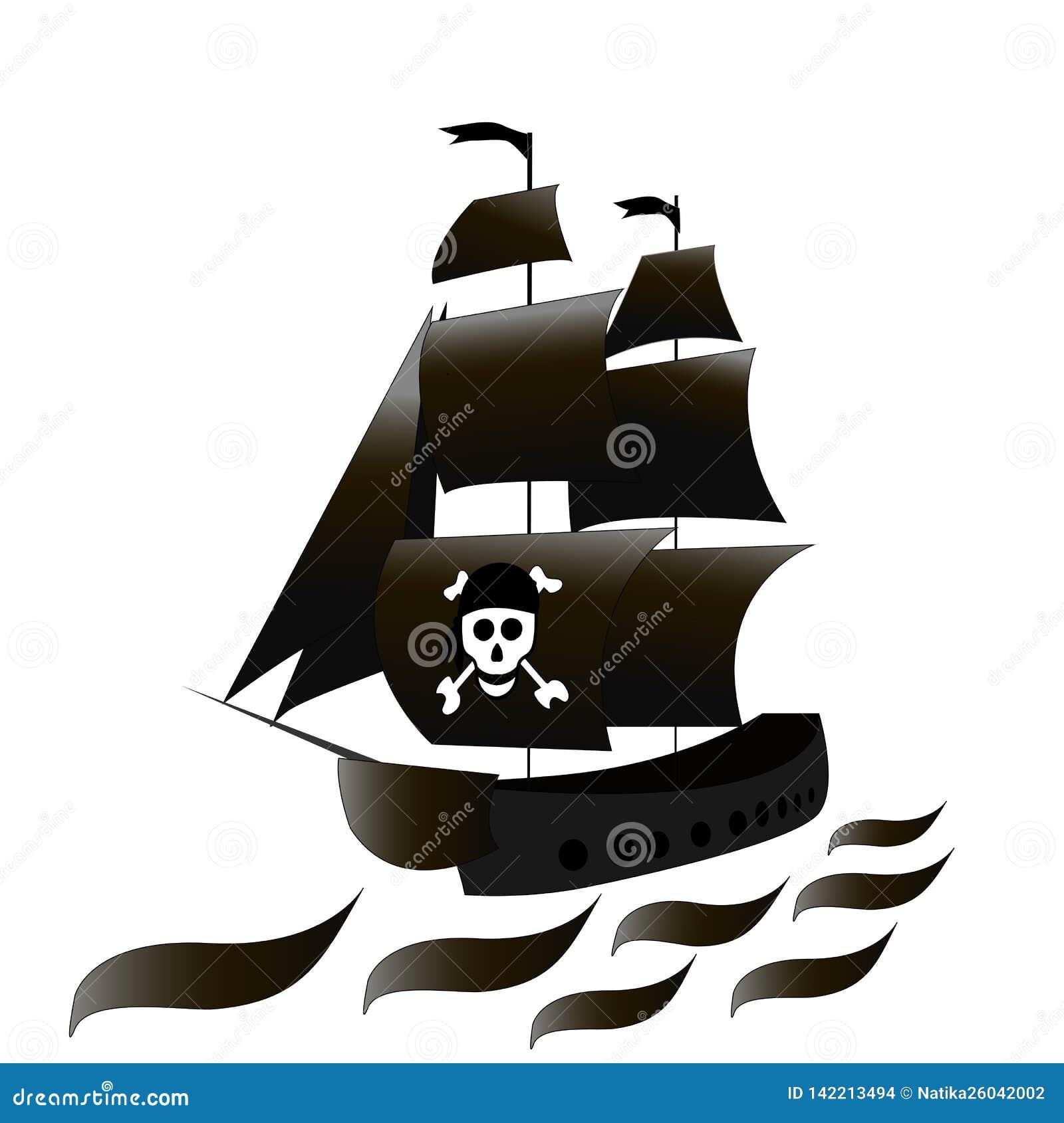 Le Bateau Est Une Fregate Avec Des Voiles Noires Et Un Crane