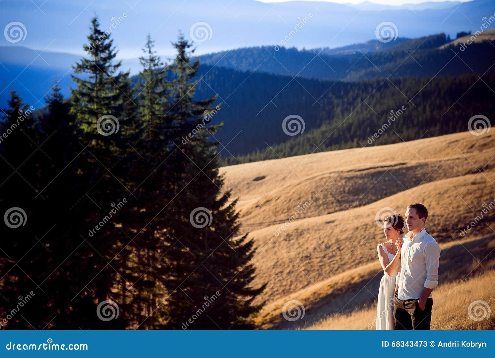 Le beau couple de mariage apprécie le paysage de montagne