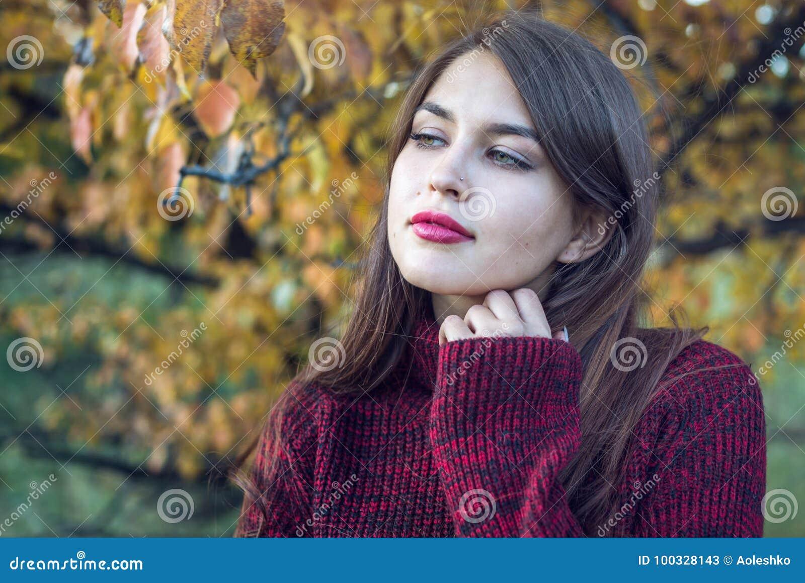 Le beau portrait coloré d une femme dans un chandail rouge et le rouge à lèvres lumineux pendant l automne se garent Concept d hu