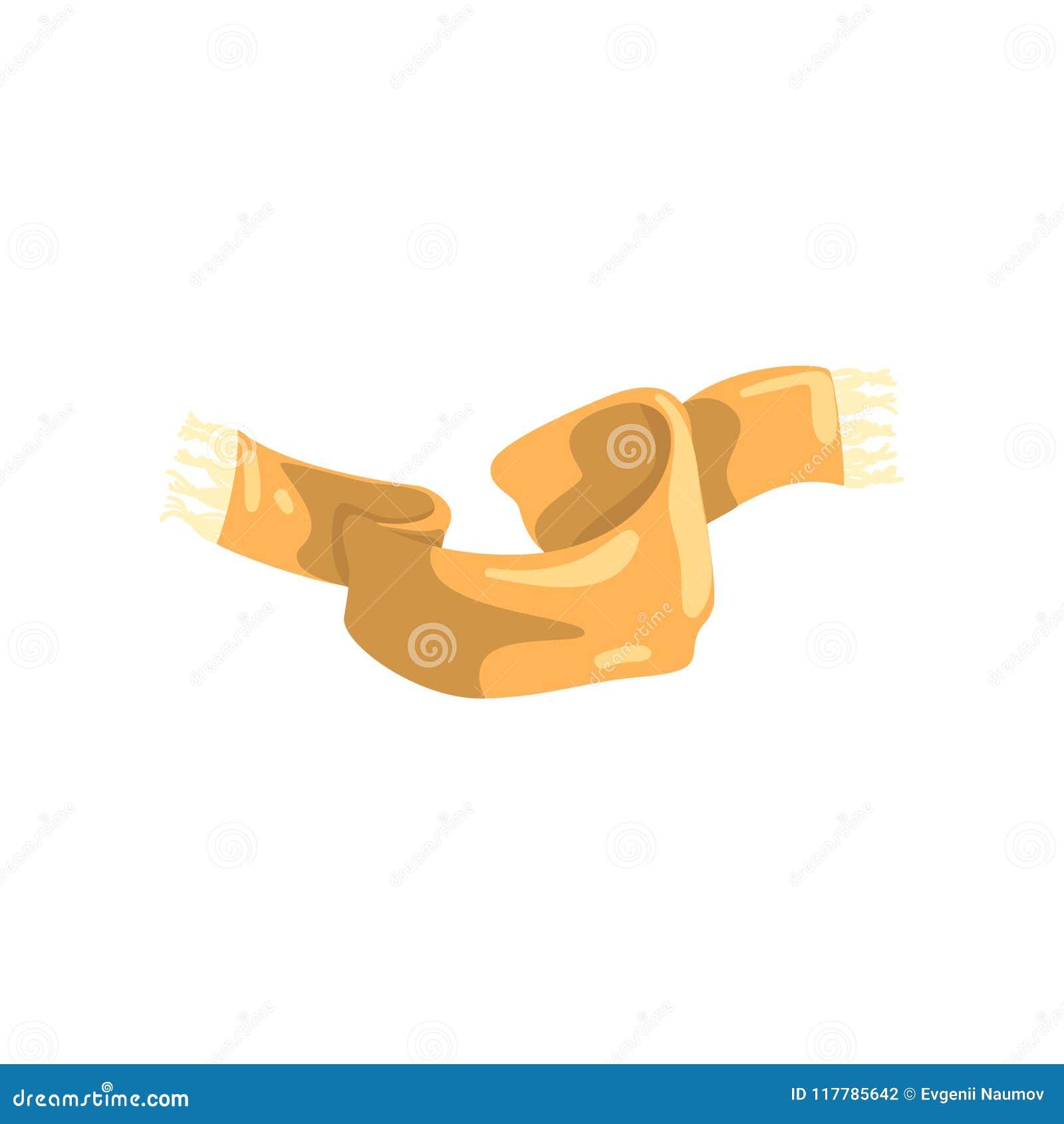 Le beige a tricoté l écharpe avec la frange sur les extrémités Chauffez l accessoire de laine pour la saison d automne et d hiver
