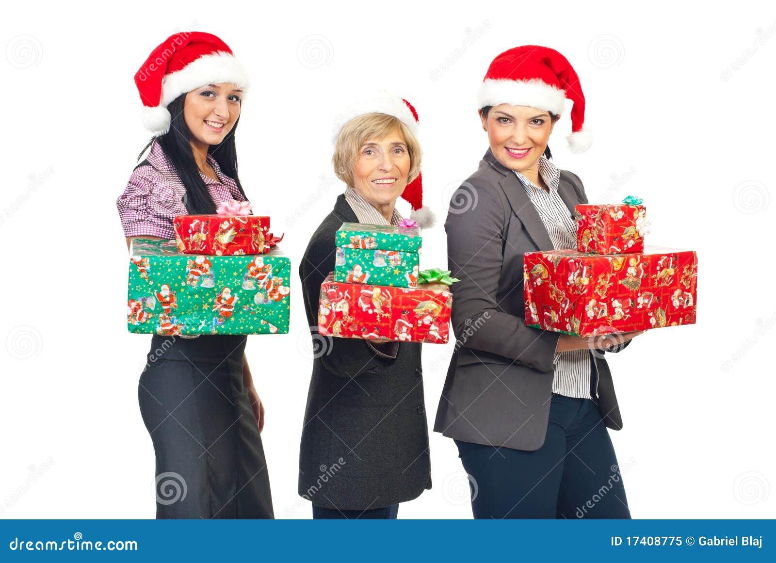Le Belle Donne Di Affari Celebrano Il Natale Immagine Stock