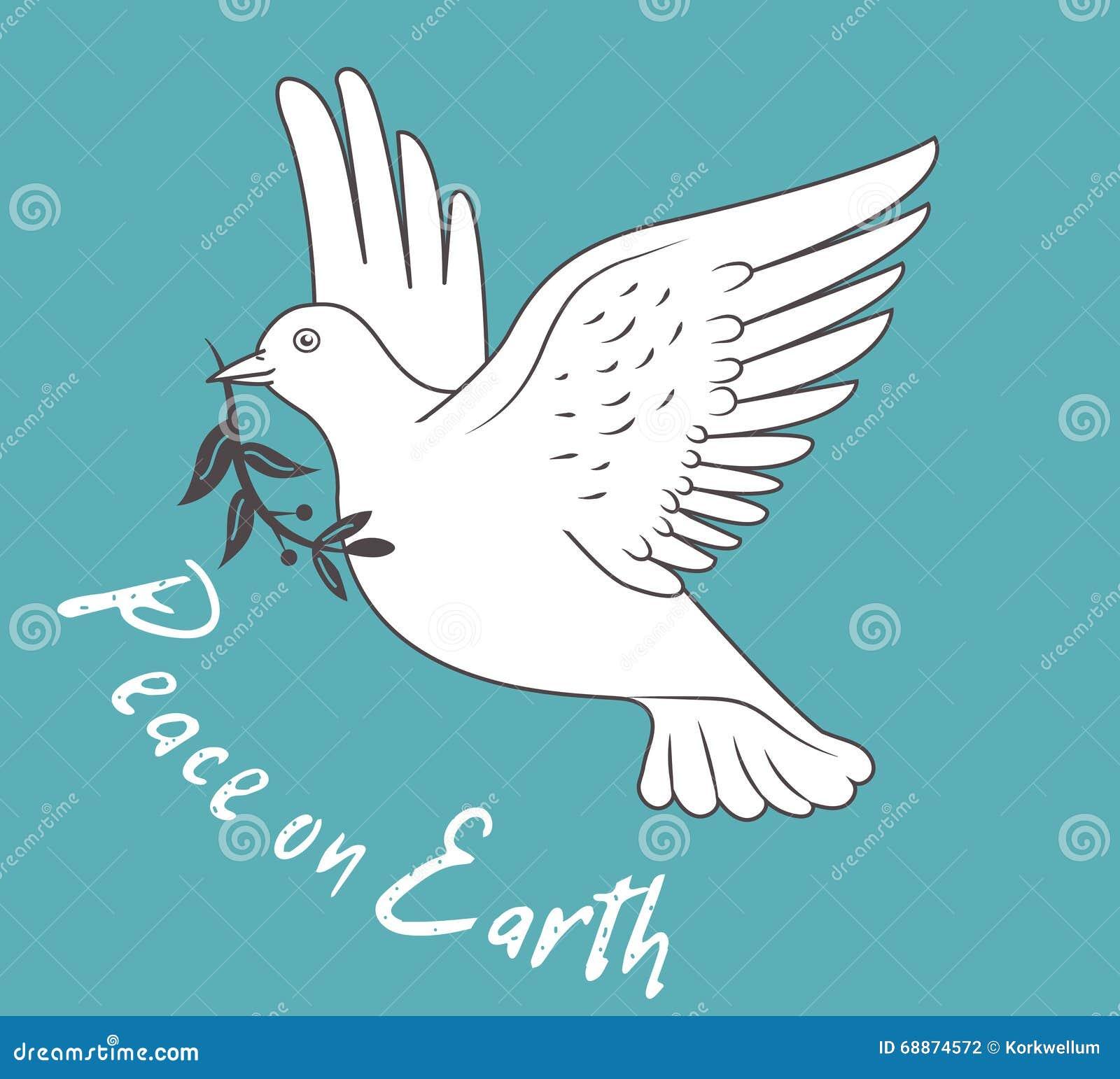 Le blanc a plongé en vol tenant Olive Branch On Blue Background et avec la paix des textes sur terre