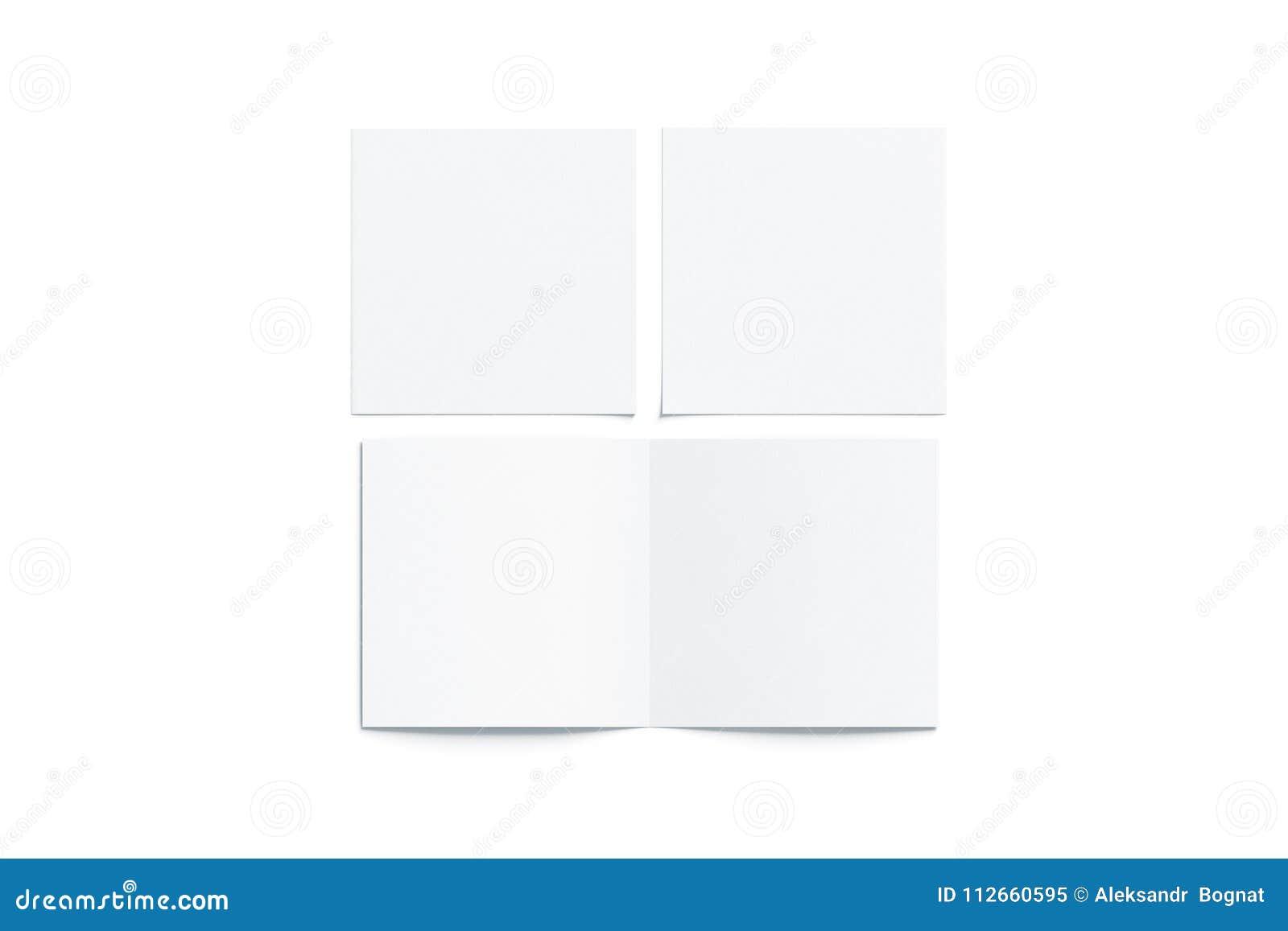 Le blanc vide deux a plié la moquerie carrée de livret, ouvert fermé