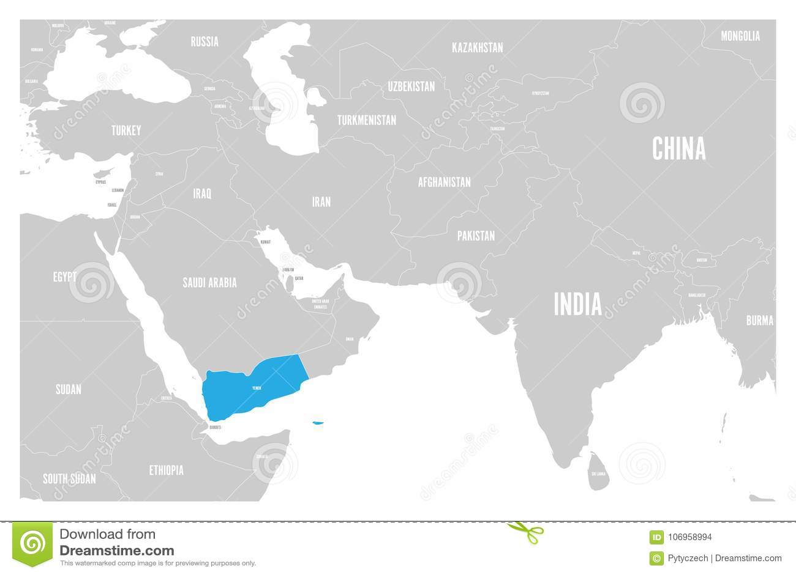 Le bleu du Yémen marqué dans la carte politique du vecteur plat simple de l Asie du sud et de Moyen-Orient tracent