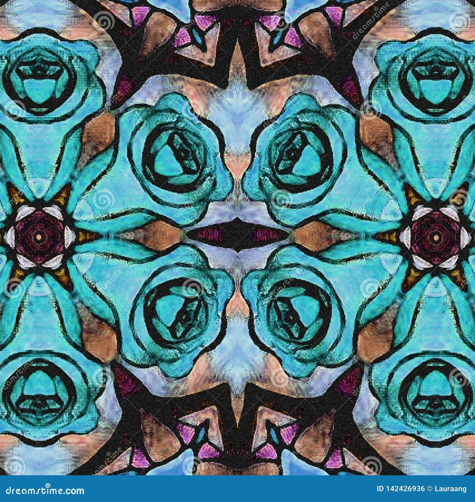 Le bleu fleurit le fond Les roses abstraites