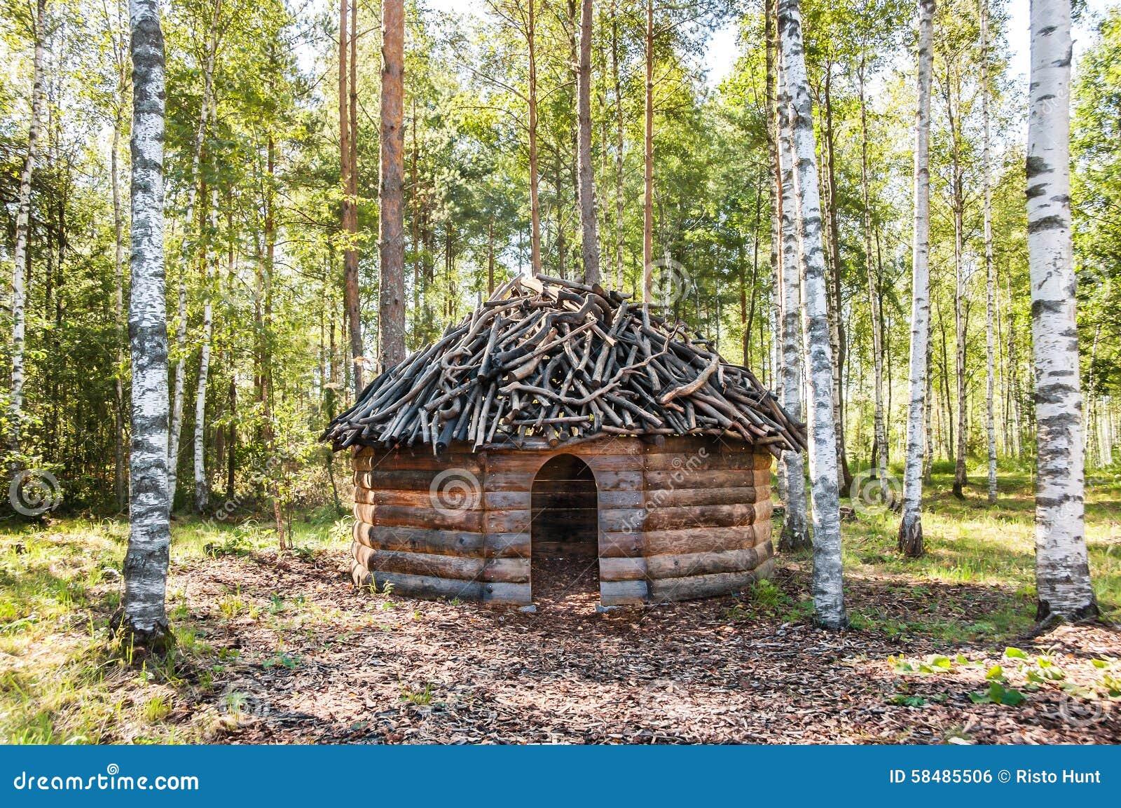le bois de construction a fait la hutte dans la for t de bouleau photo stock image 58485506. Black Bedroom Furniture Sets. Home Design Ideas