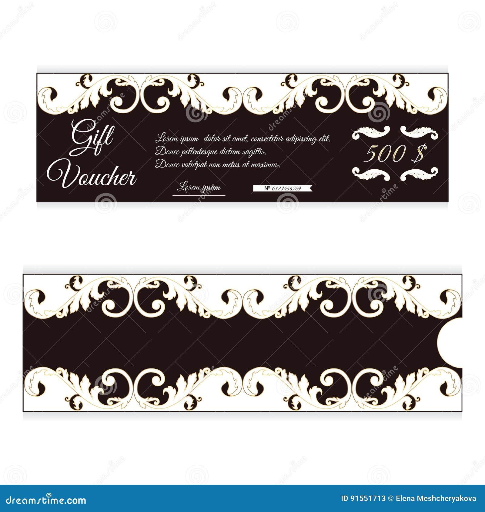 Le bon de cadeau élégant de remise est brun avec la couleur blanche Ornement à jour dans le style victorien Pour des boutiques