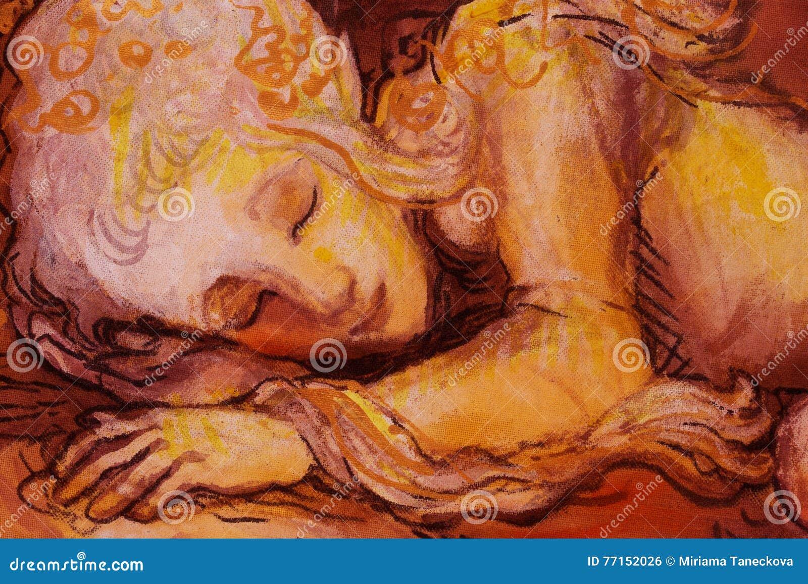 Le bonbon elven les rêves, le petit collage de sommeil de fée, peint à la main et d ordinateur