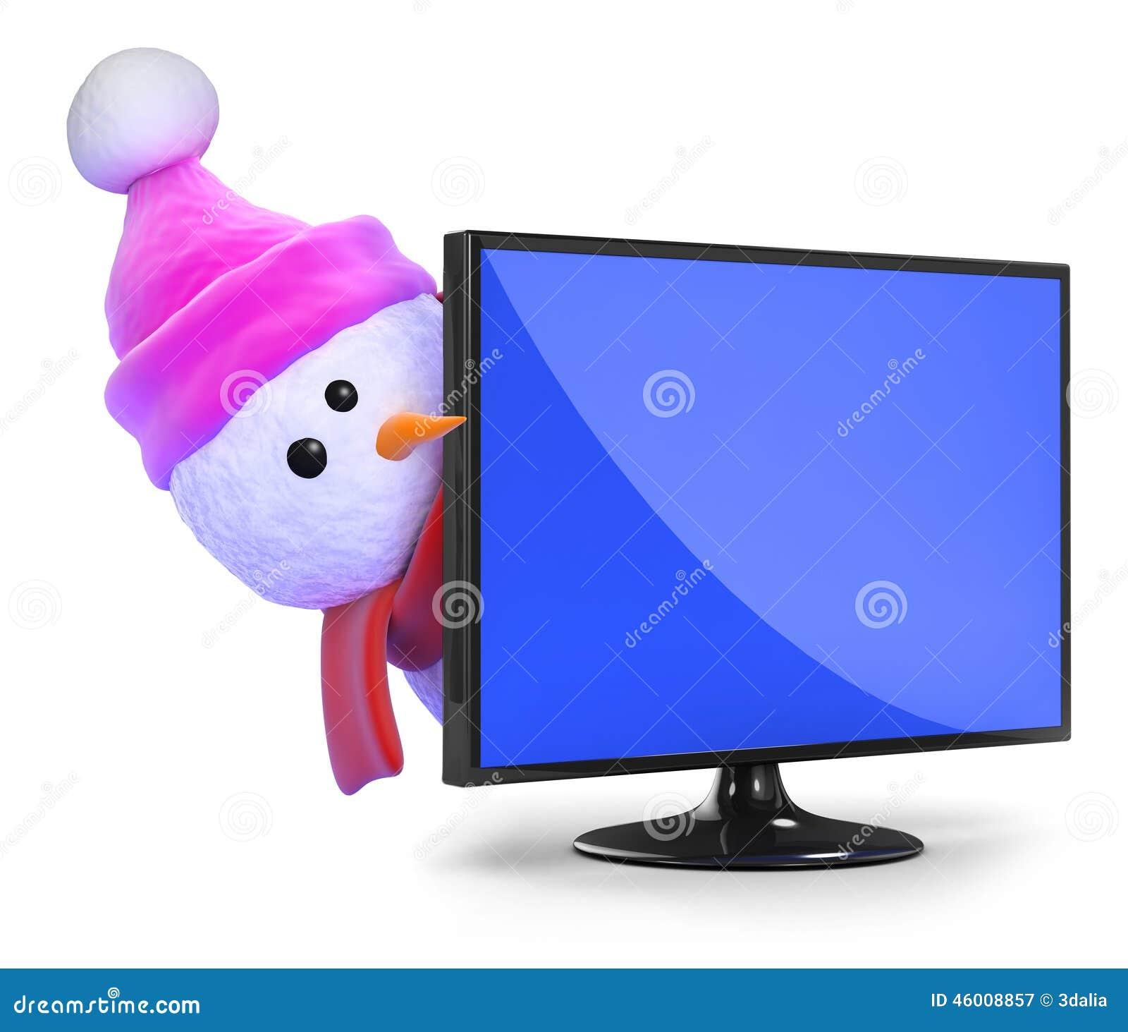 Le bonhomme de neige 3d dans le chapeau rose de laine piaule autour d 39 une t l vision - Bonhomme de neige en laine ...
