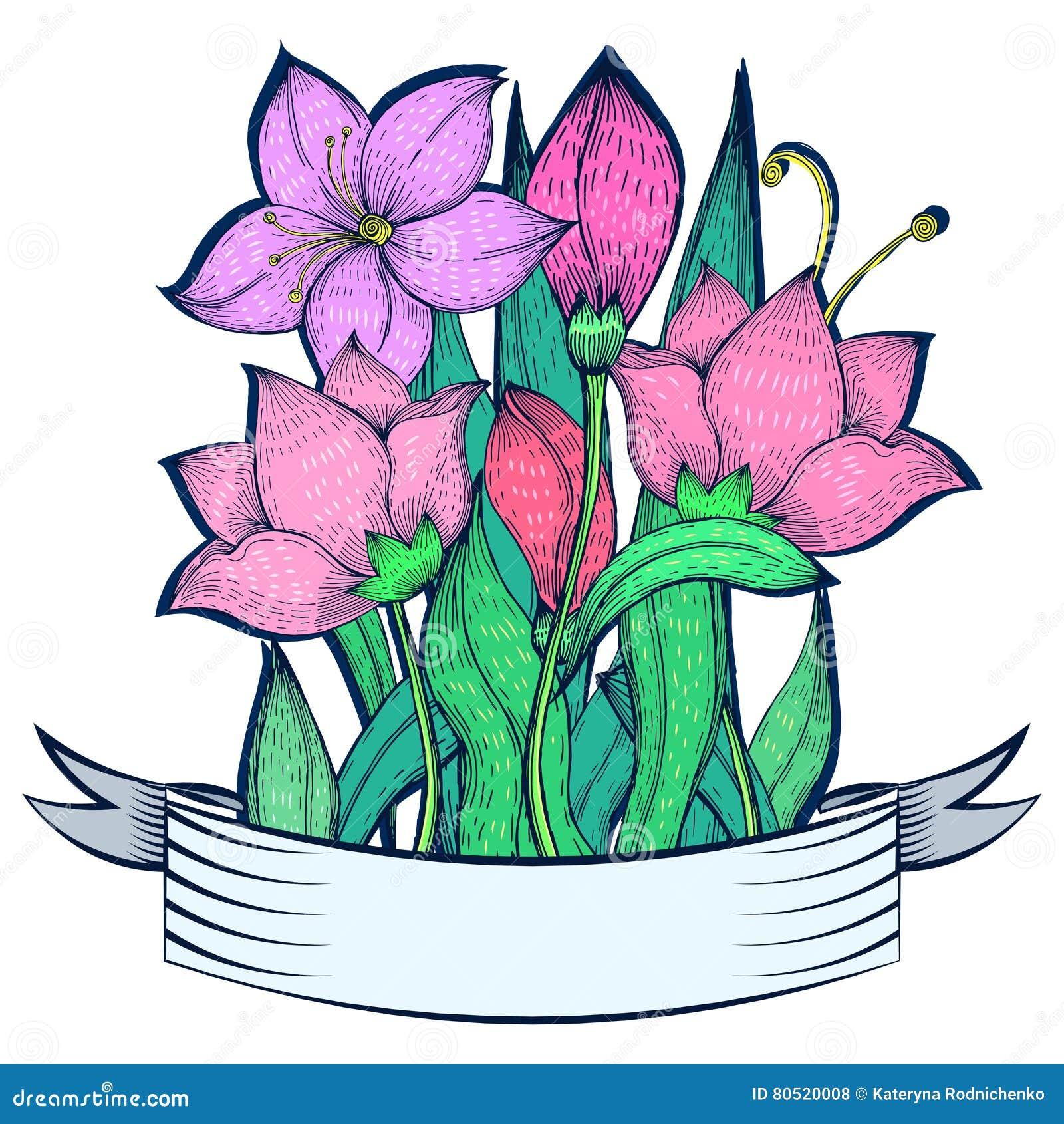 Dessin Avec La Main le bouquet du lis rose a décoré le ruban, dessin de dessin à