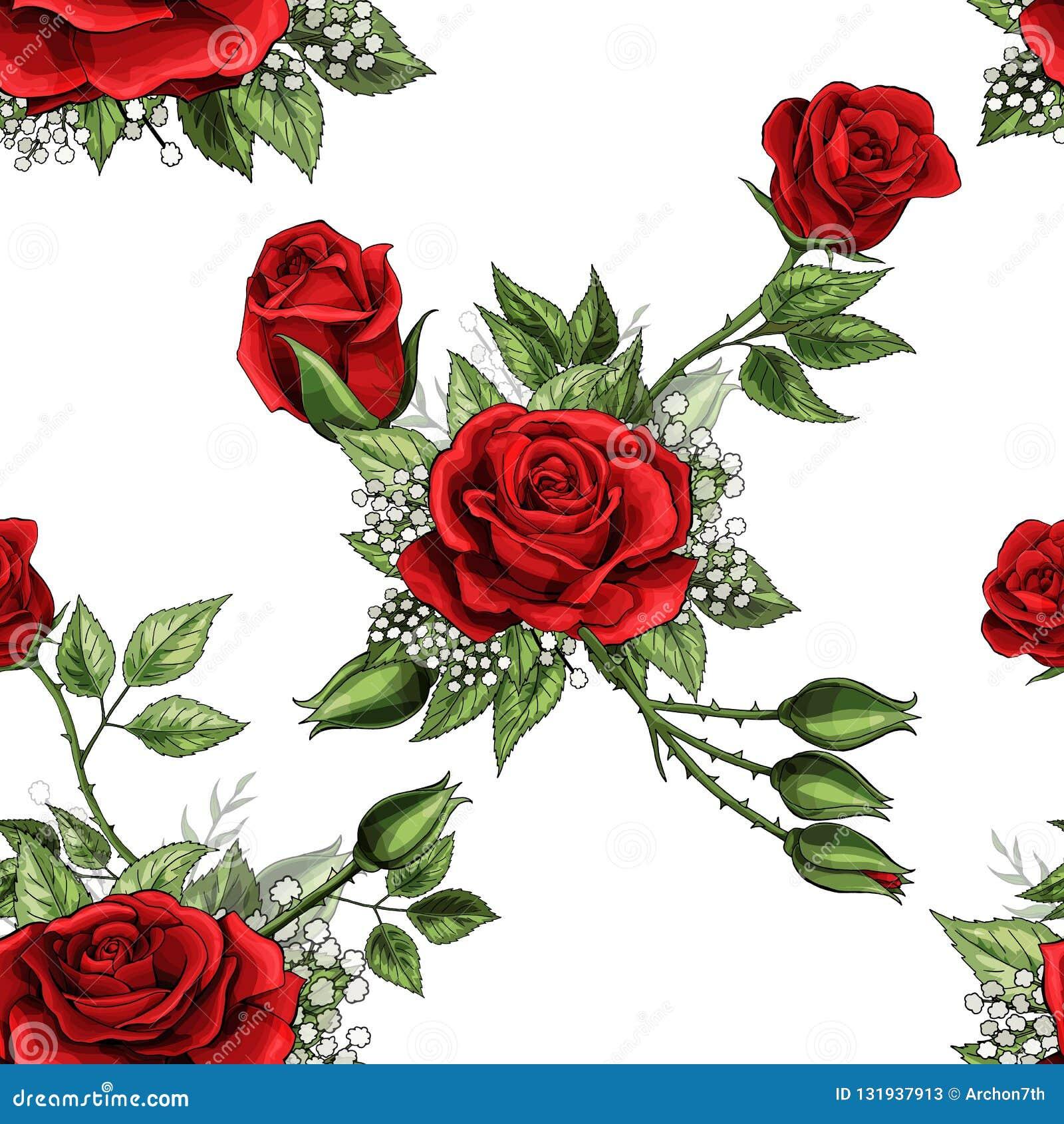 Le Bouquet Rose Rouge De Fleur Ecarte Des Elements De Plante