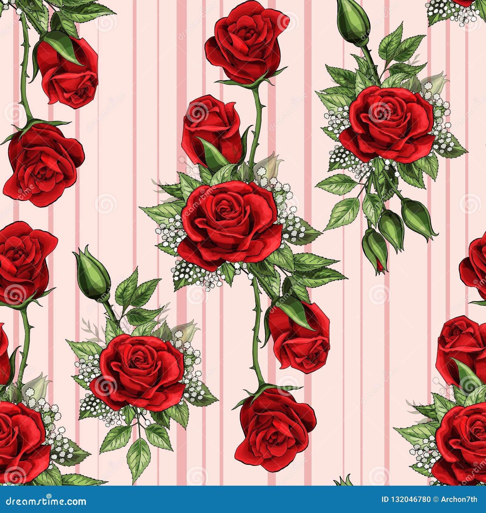 Le Bouquet Rose Rouge De Fleur Repand Le Papier Peint Sans Couture