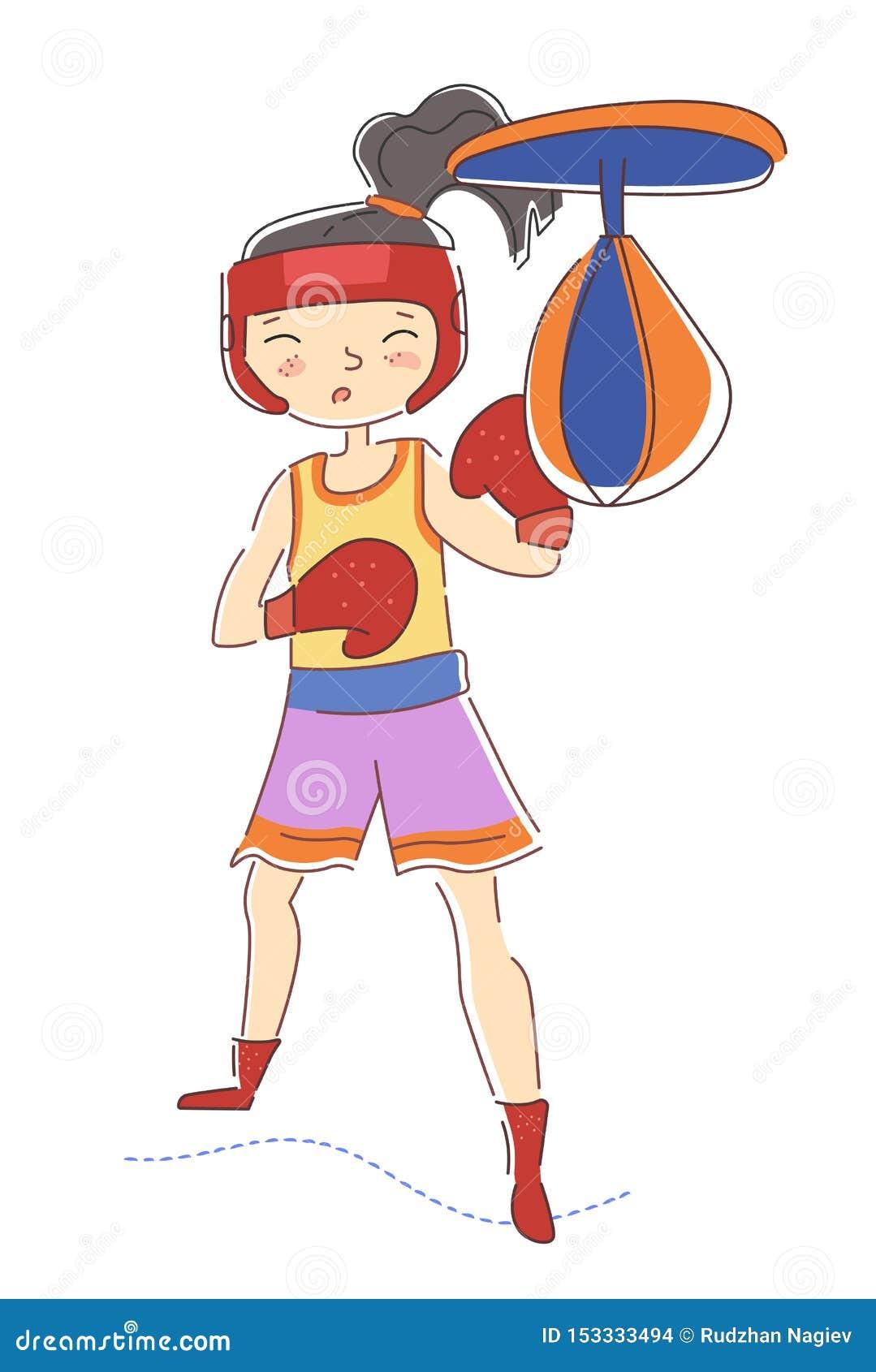 Le boxeur déterminé de jeune fille portant les gants de boxe rouges colorés établissant dans un poinçon de gymnase frappent le sa