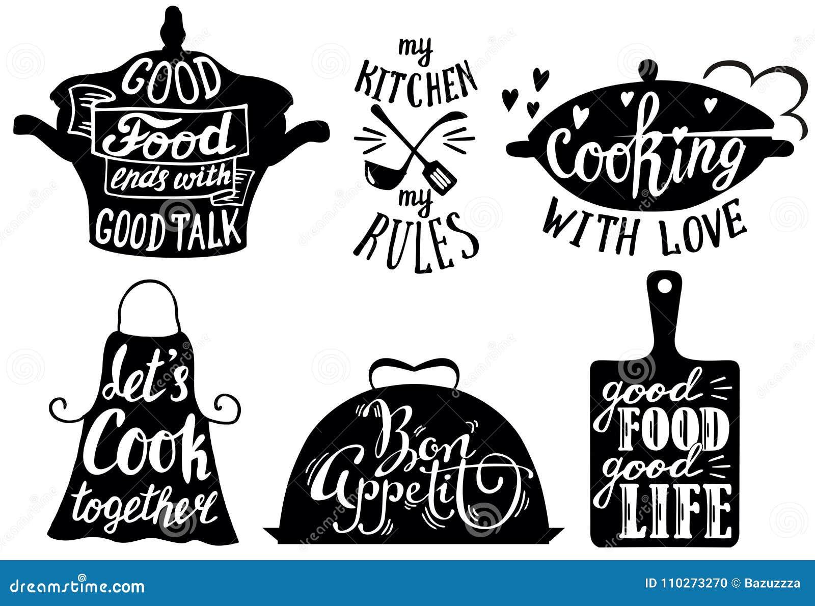 Le Brevi Frasi E Citazioni Di Cucina, Vector L\'illustrazione ...