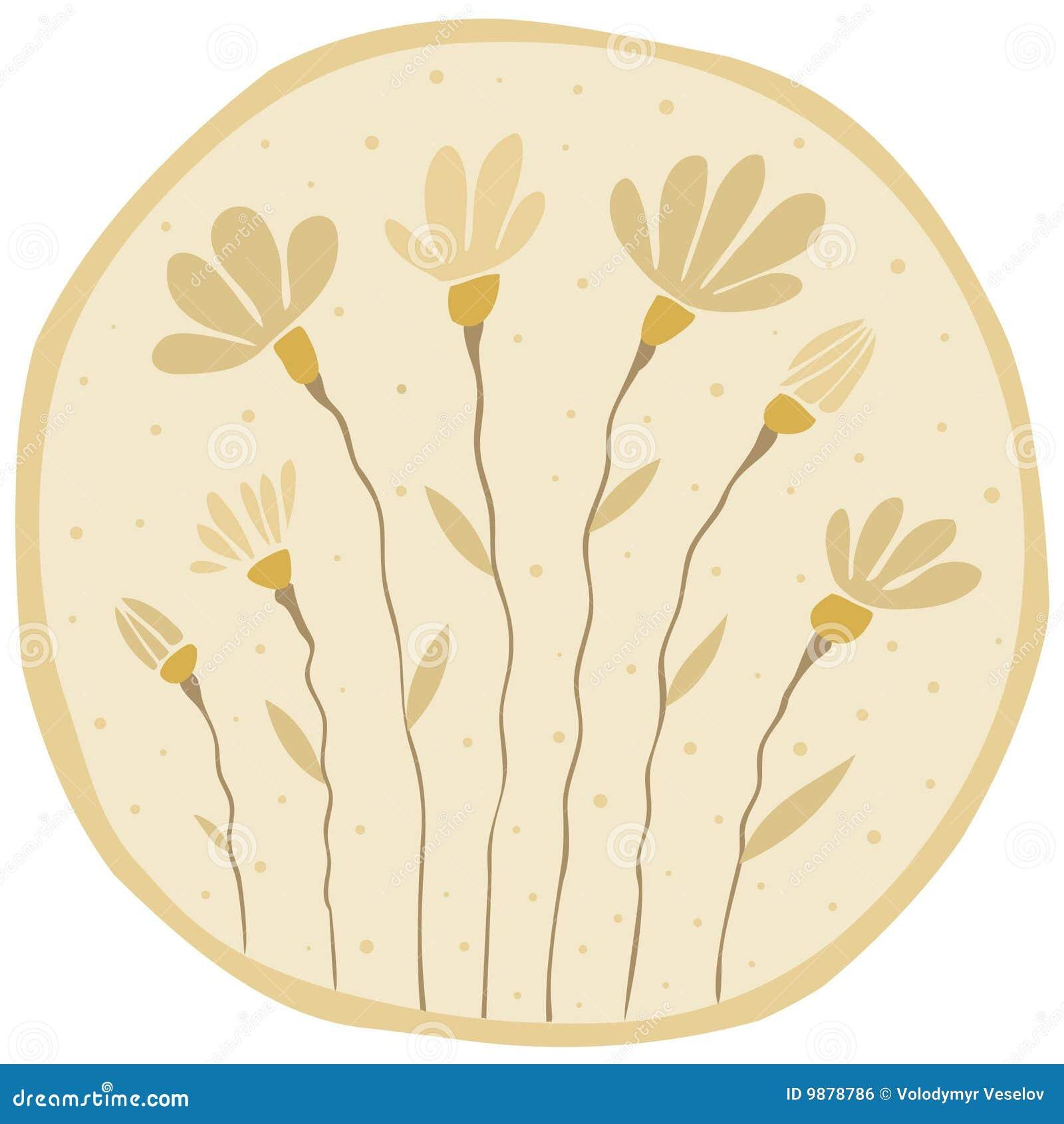 Le brun de fond fleurissent faiblement le jaune de paires