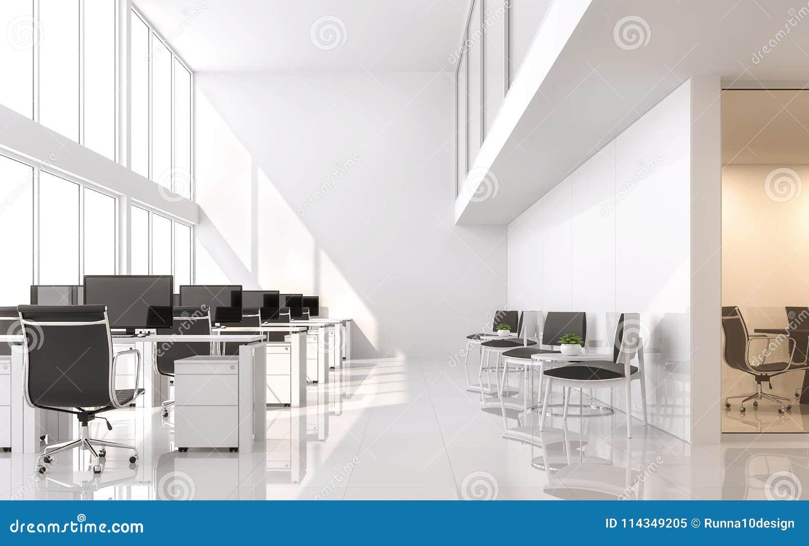 Le bureau blanc moderne d rendent la salle a un à haut plafond et