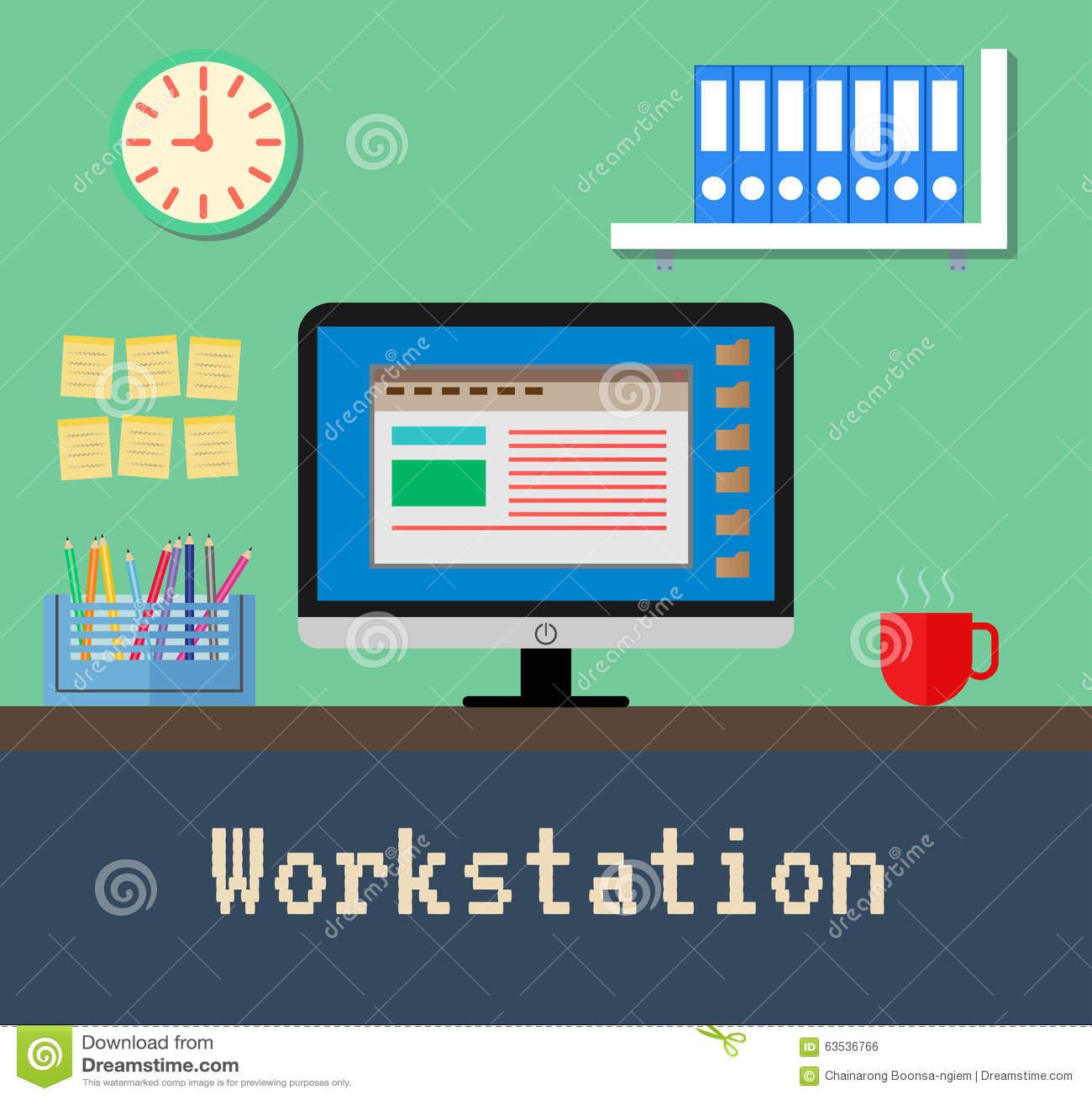 le bureau de poste de travail illustration de vecteur image 63536766. Black Bedroom Furniture Sets. Home Design Ideas
