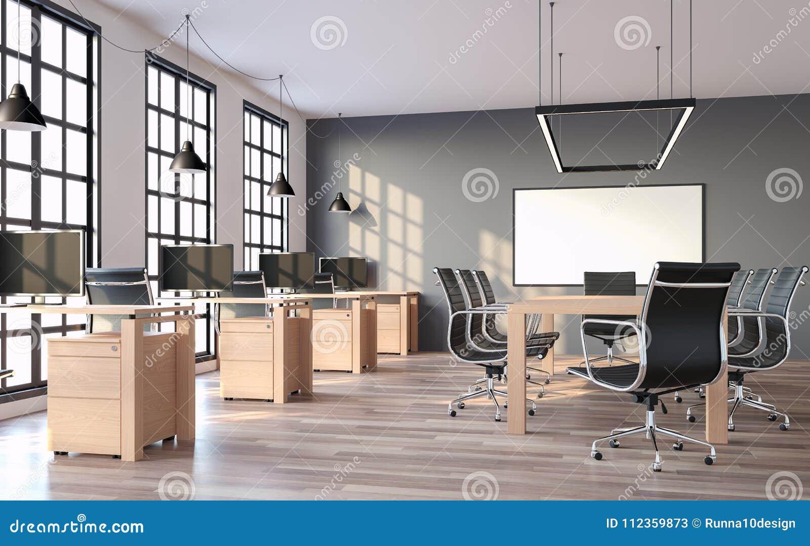 Le bureau moderne de style de grenier avec le mur gris 3d rendent