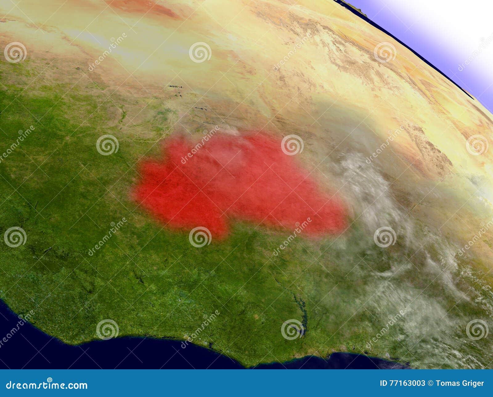 Le Burkina Faso de l espace accentué en rouge