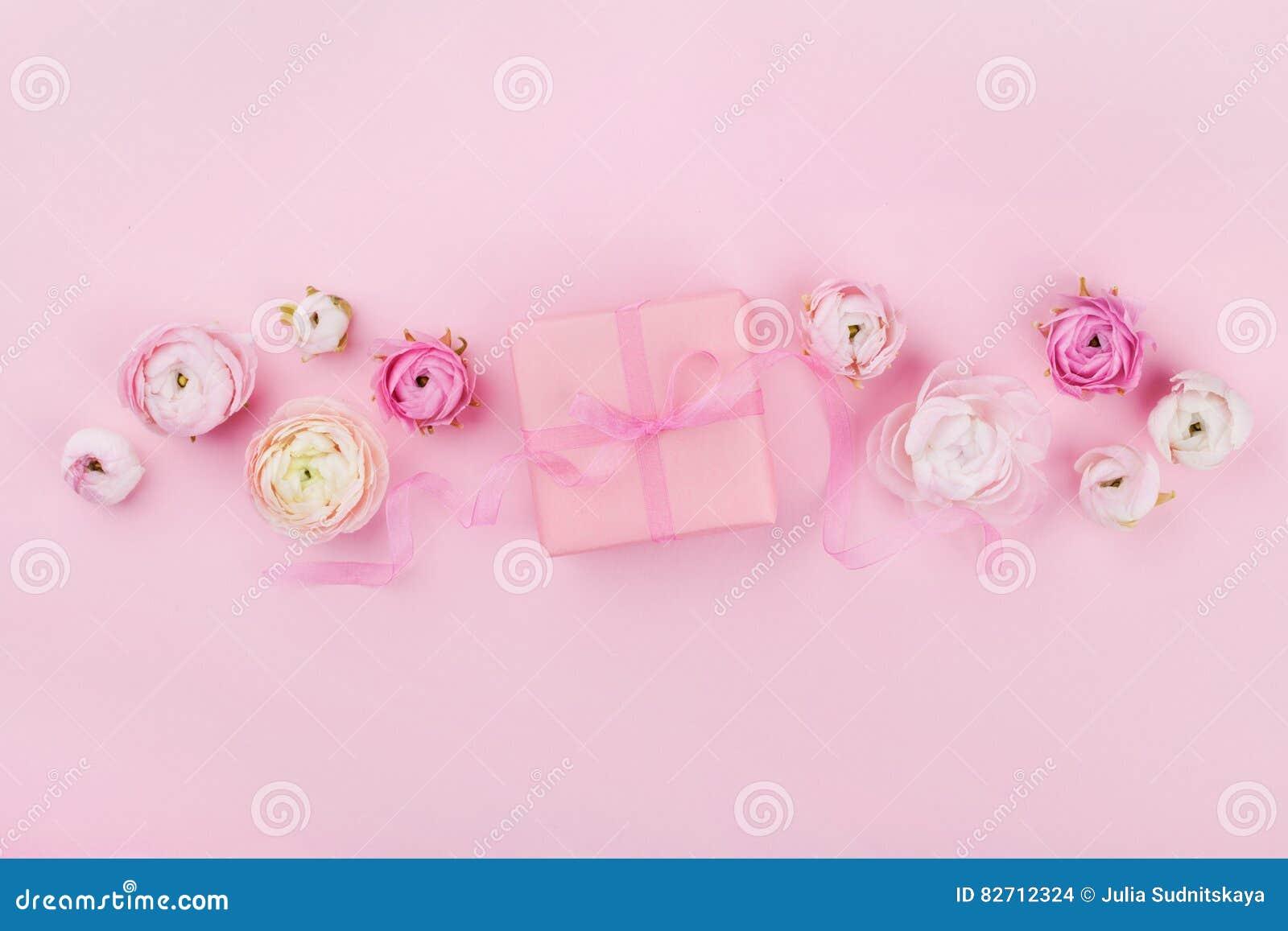 Le cadeau ou la boîte et le ressort actuels fleurissent sur le