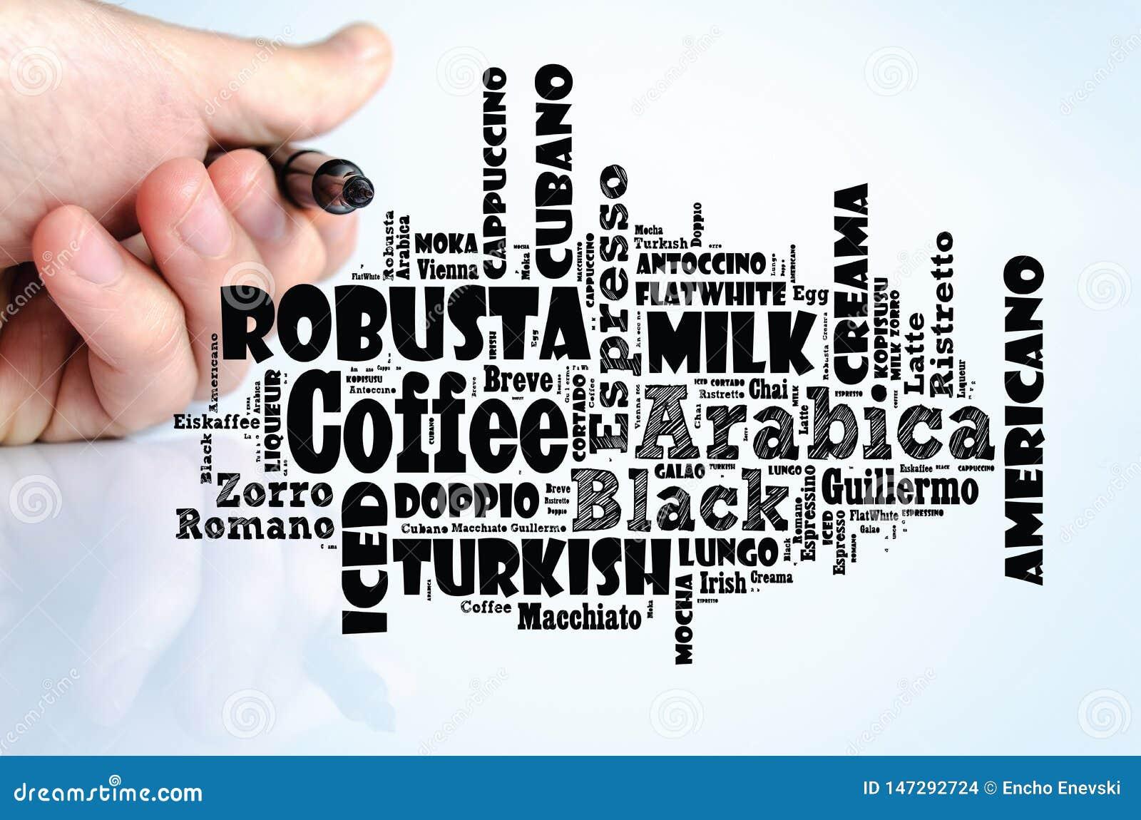 Le caf? boit le collage de nuage de mots