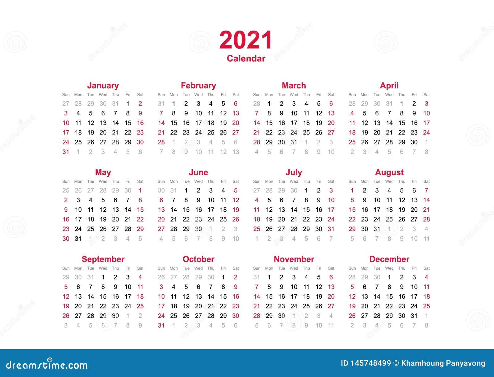 2021 Le Calendrier Annuel   12 Mois De Calendrier Annuel Réglé En