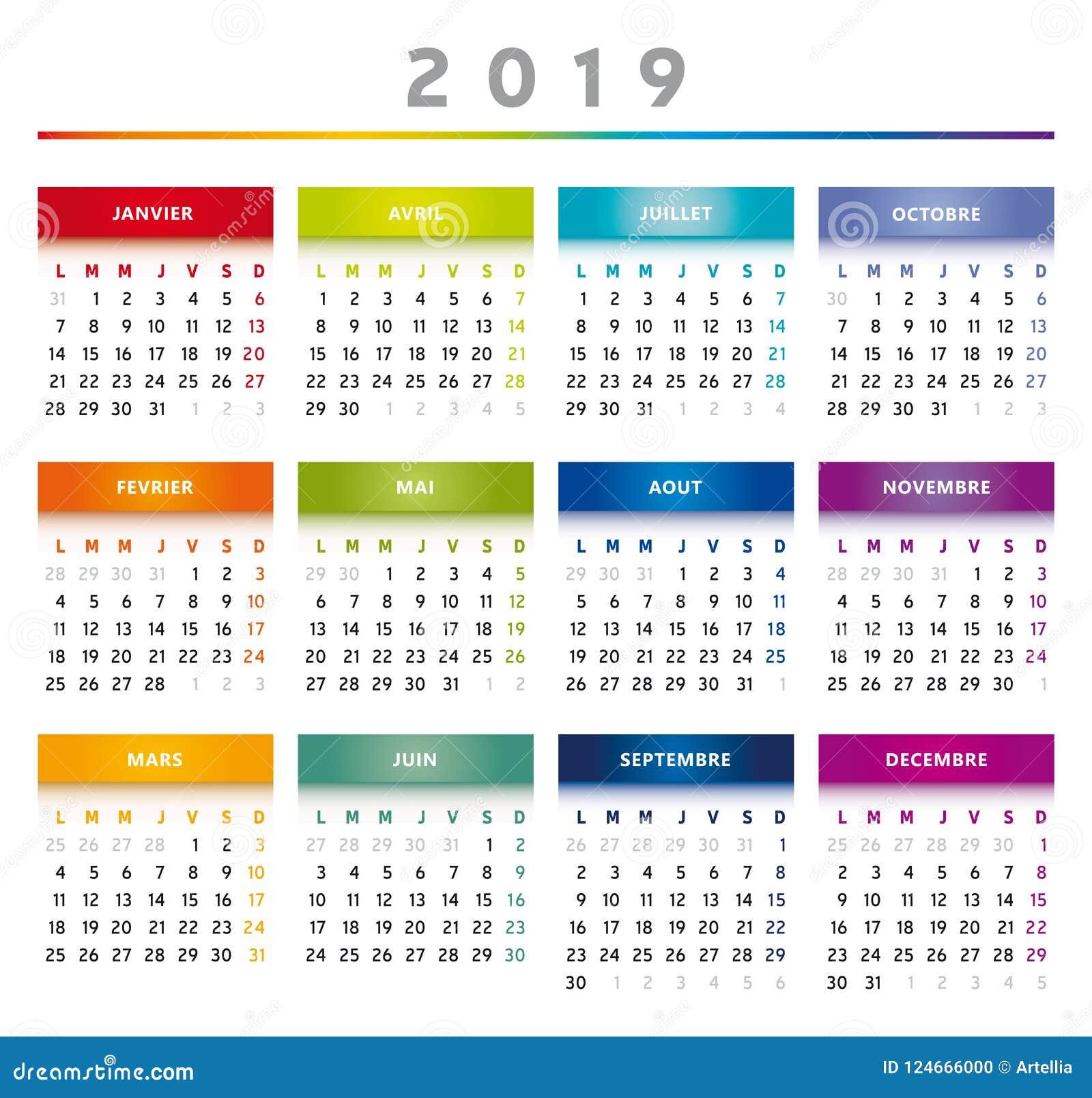 Calendrier Francais 2019.Le Calendrier 2019 Avec Des Boites En Arc En Ciel Colore 4