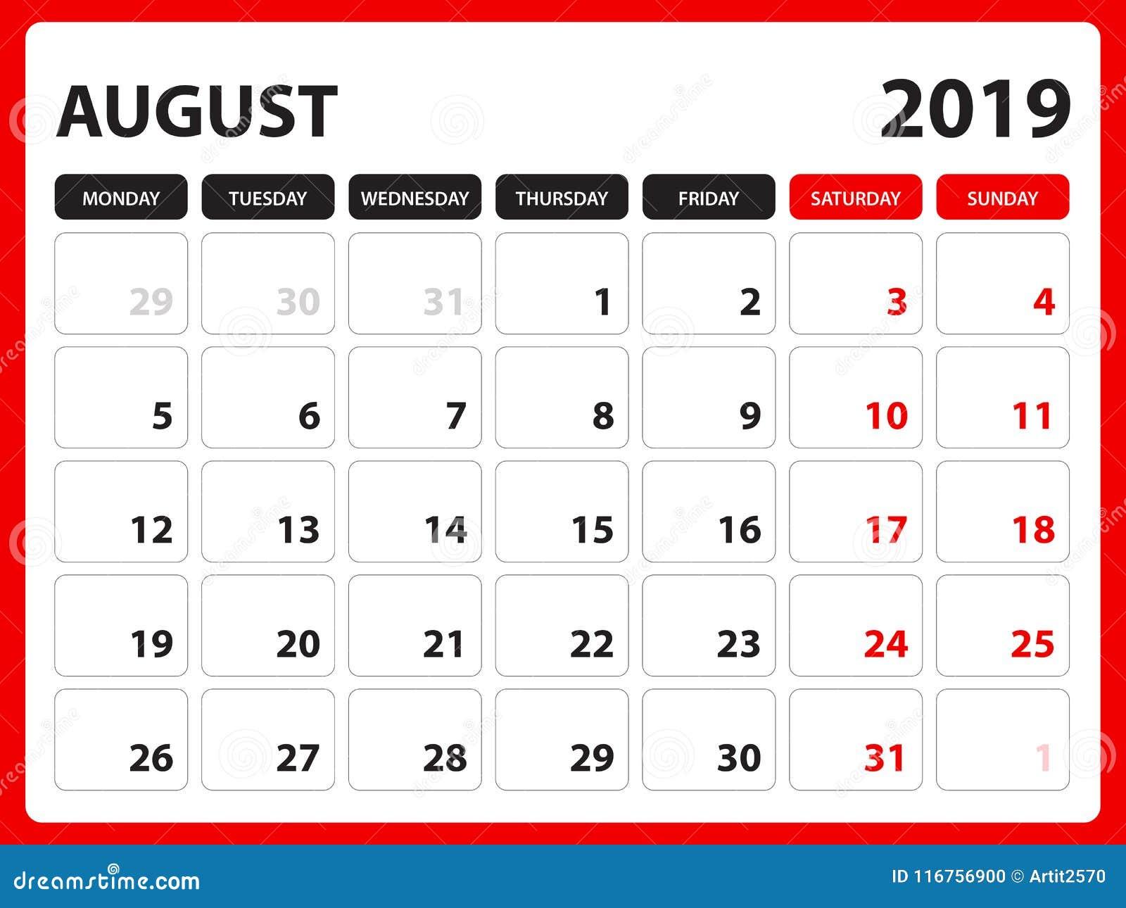 Le calendrier de bureau pour le calibre août 2019, calendrier imprimable, calibre de conception de planificateur, semaine commenc