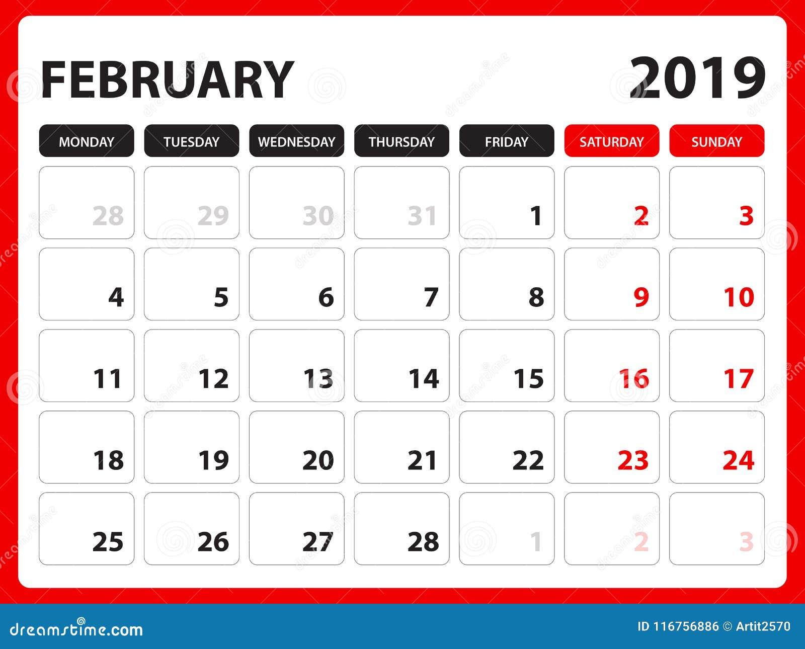 Le calendrier de bureau pour le calibre de février 2019, calendrier imprimable, calibre de conception de planificateur, semaine c