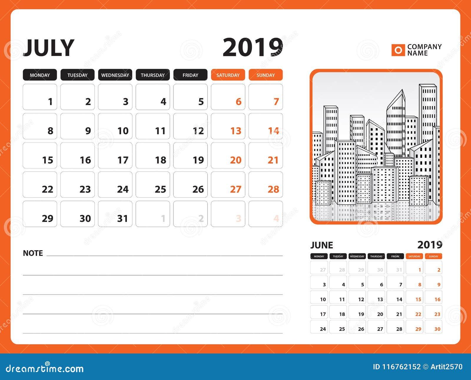 Semaine 2019 Calendrier.Le Calendrier De Bureau Pour Le Calibre De Juillet 2019