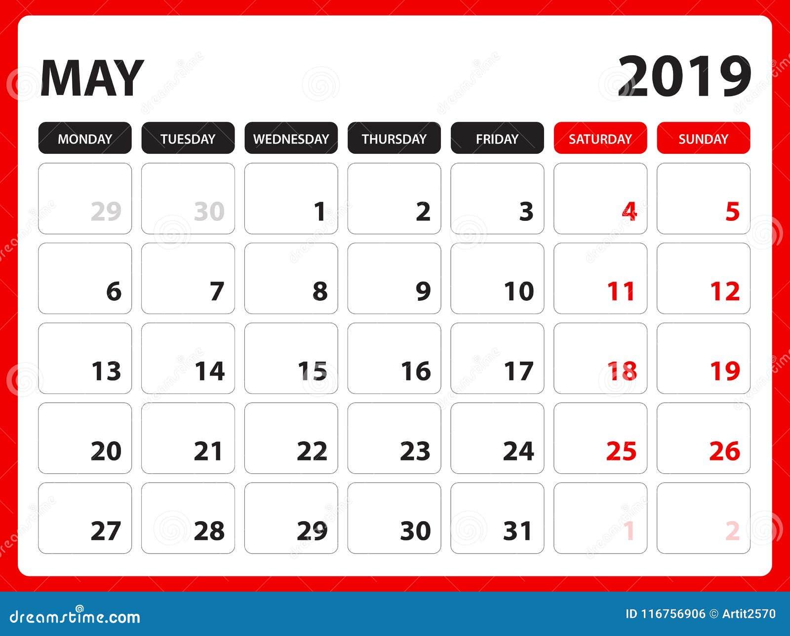 Le calendrier de bureau pour le calibre de mai 2019, calendrier imprimable, calibre de conception de planificateur, semaine comme