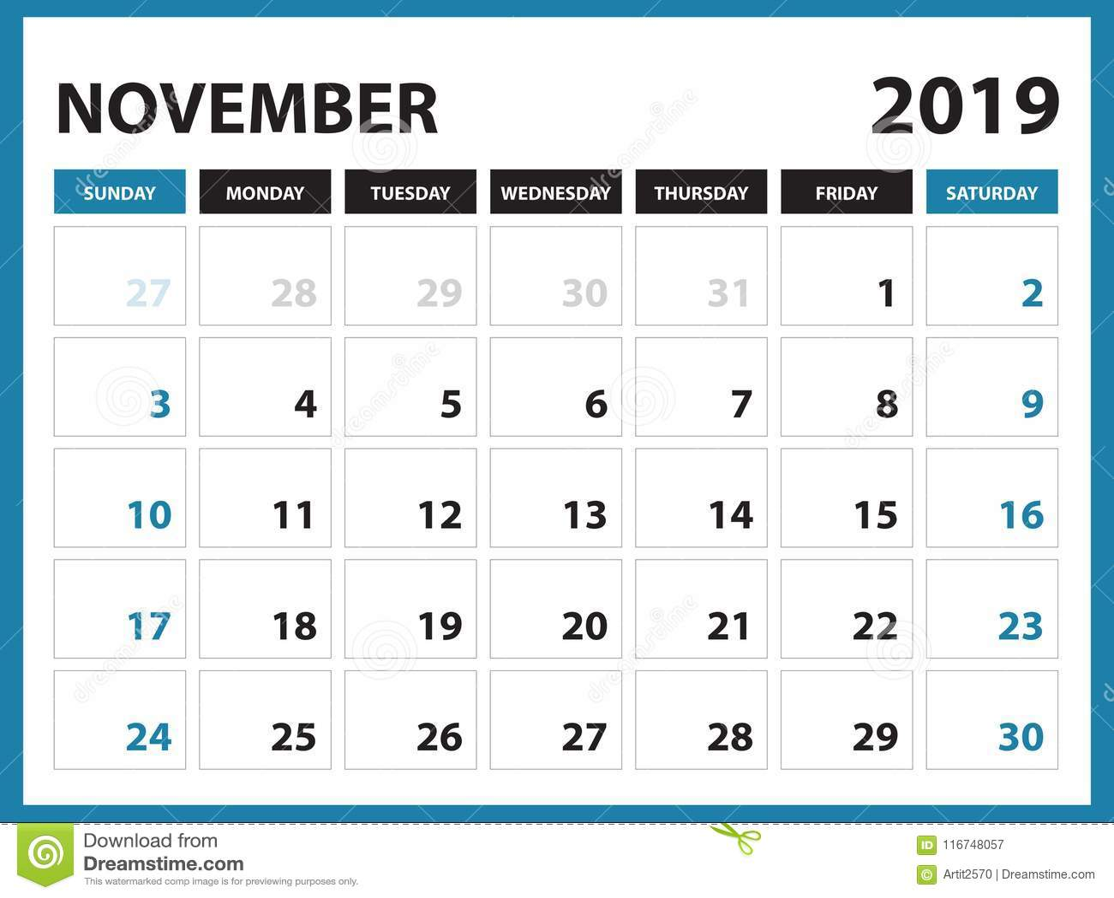 Calendrier Mois De Novembre 2019.Le Calendrier De Bureau Pour Le Calibre De Novembre 2019