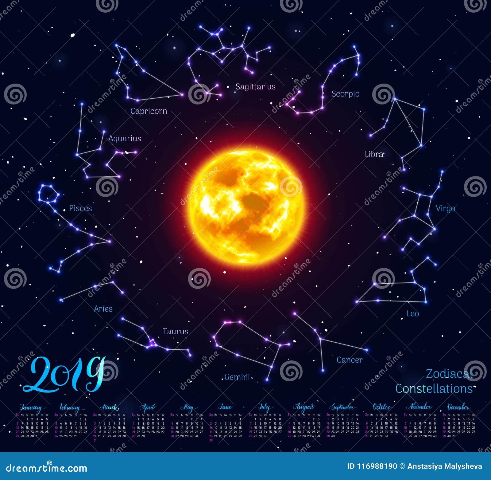 Calendrier Soleil.Le Calendrier Le Soleil Zodiaque Signe 2019 Fond De Ciel