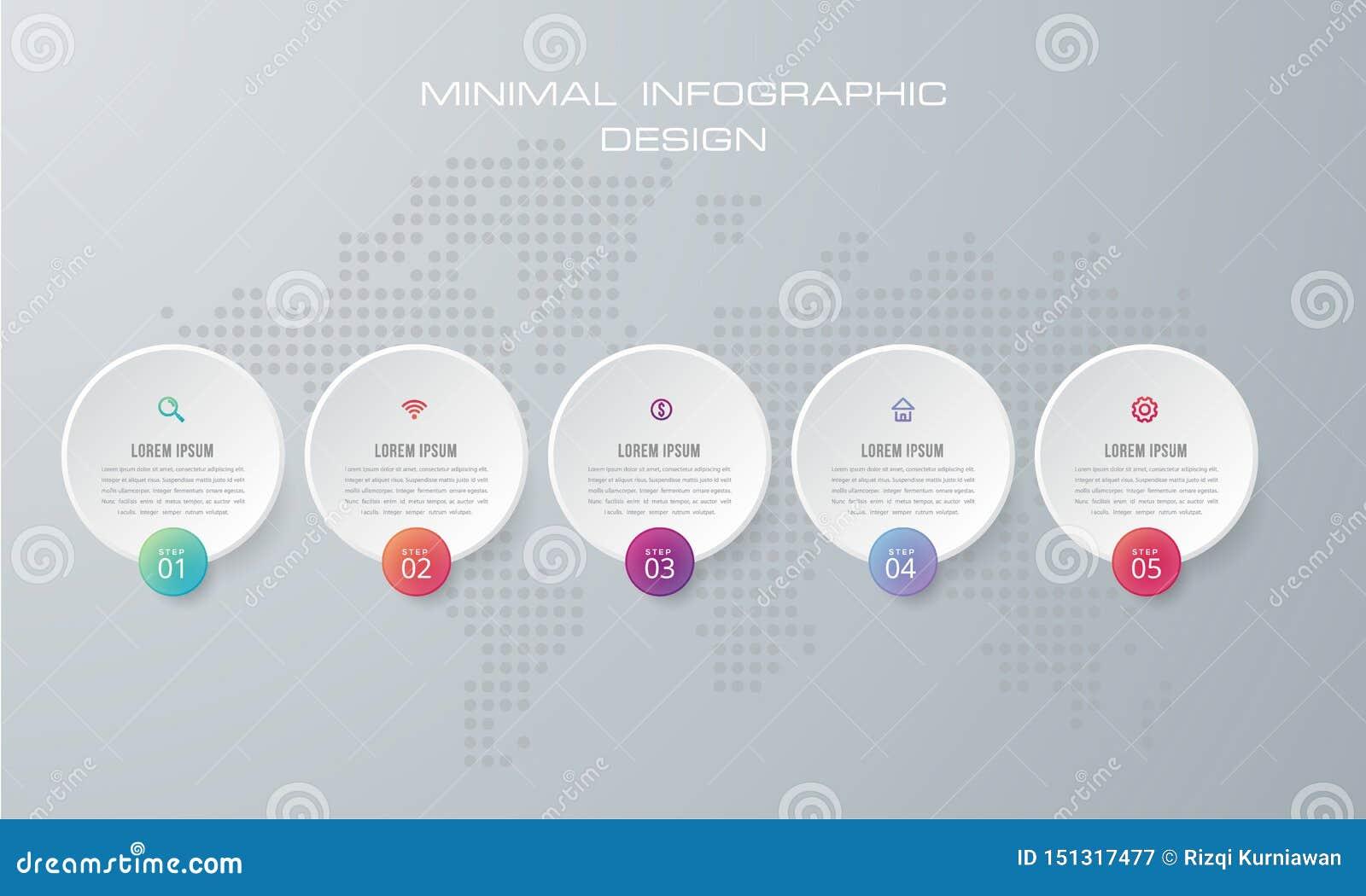Le calibre d Infographic vecteur avec 4 options, déroulement des opérations, diagramme de processus, de chronologie d infographic