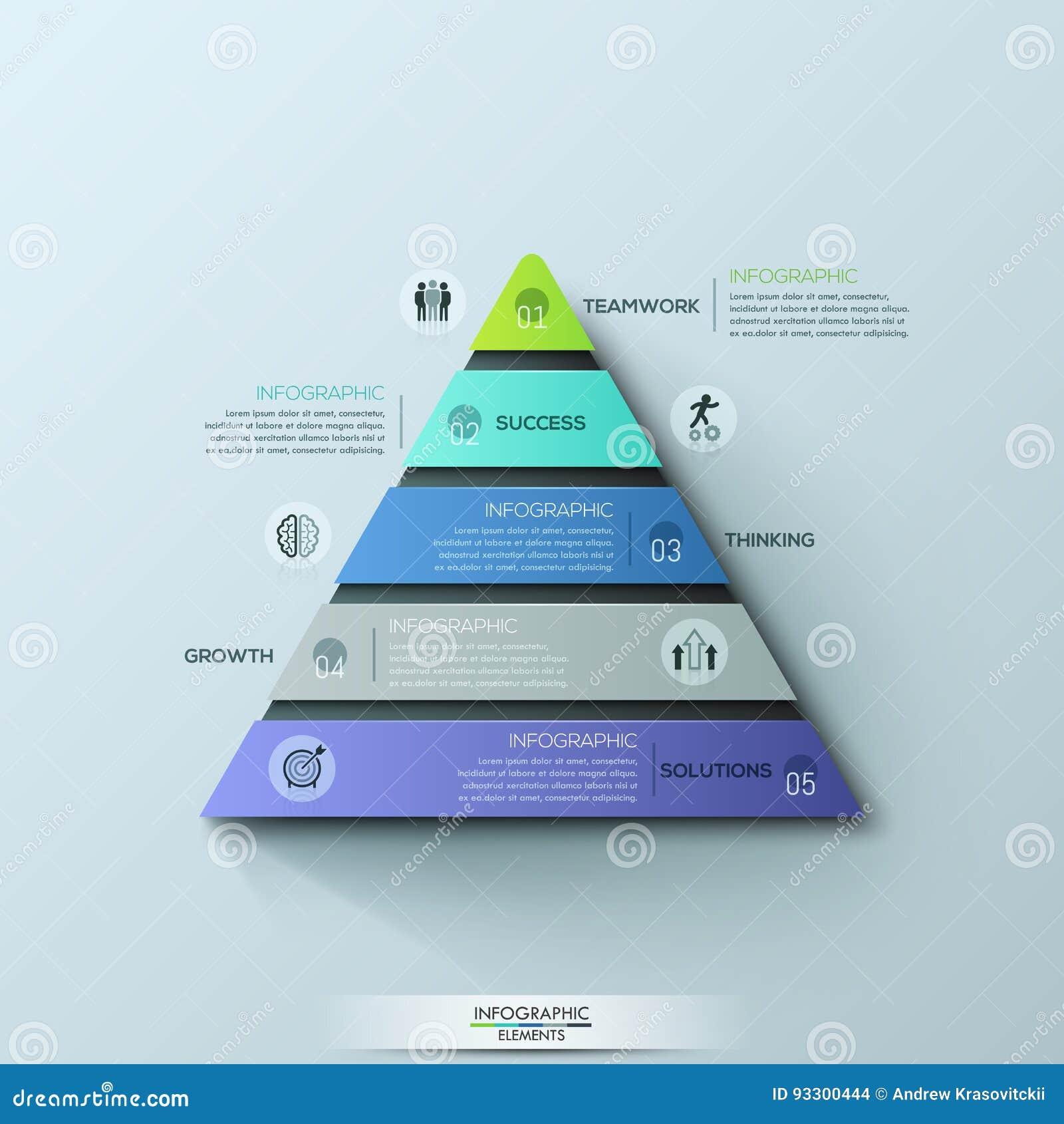 Le calibre infographic moderne de conception, diagramme triangulaire avec 5 a numéroté des couches ou des niveaux