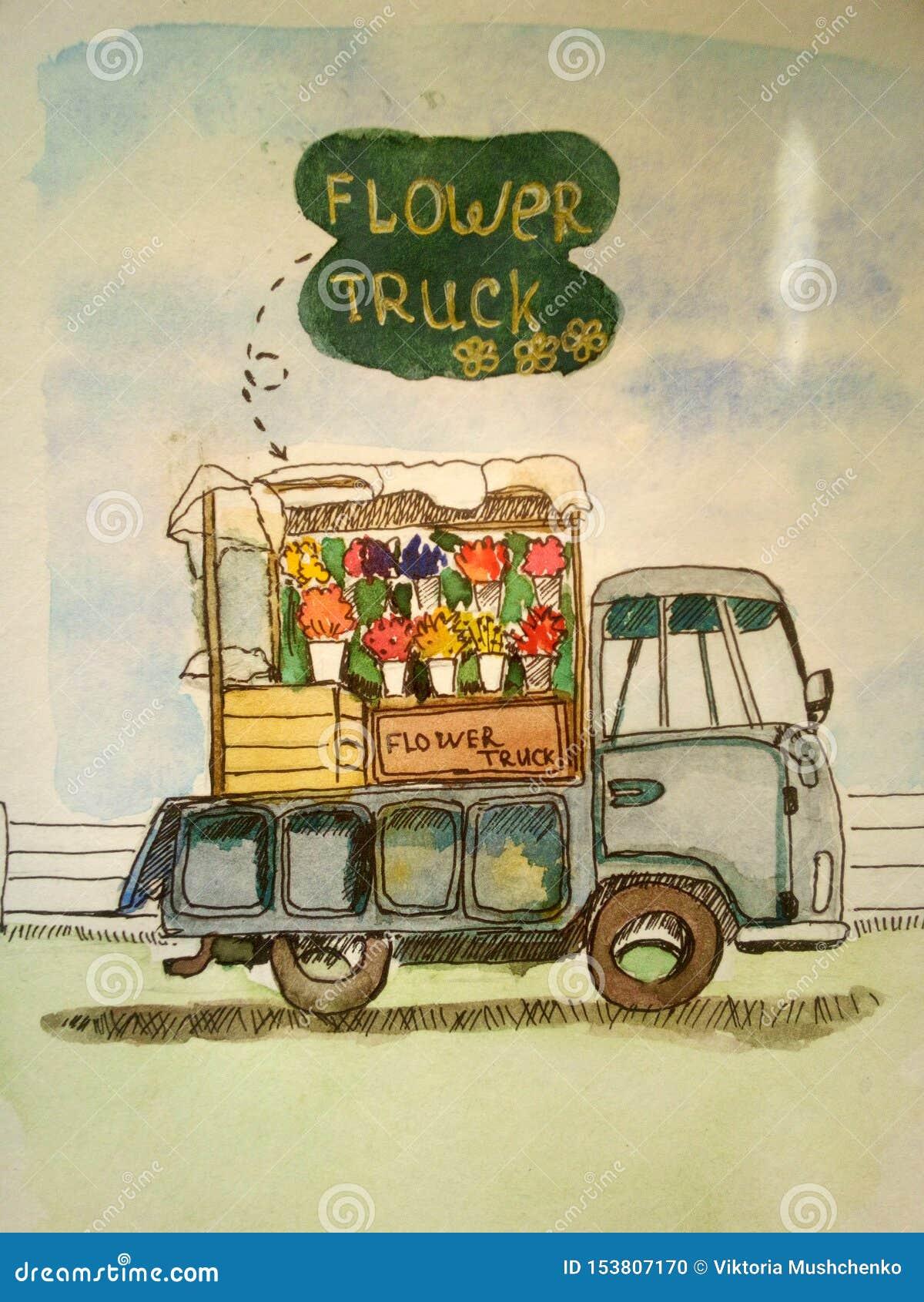 Le camion avec des fleurs attend ses clients