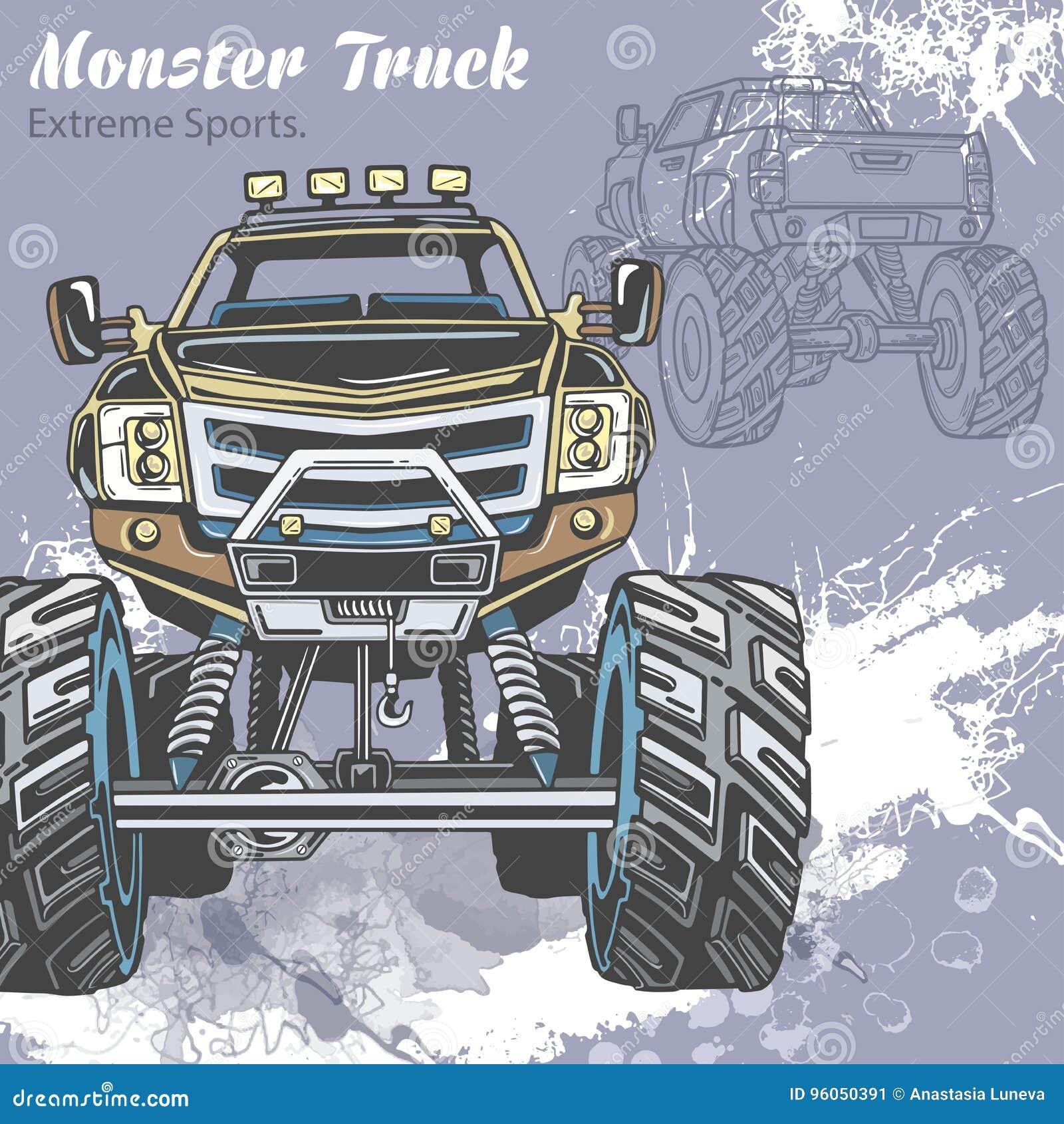 Le camion de monstre sur le fond de sport avec éclabousse et croquis Rétro illustration de vecteur Sports extrêmes aventure
