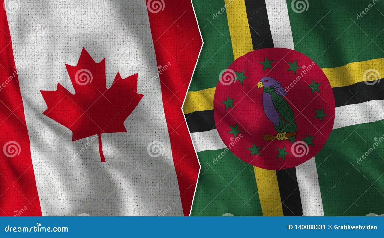 Le Canada et la Dominica Half Flags Together