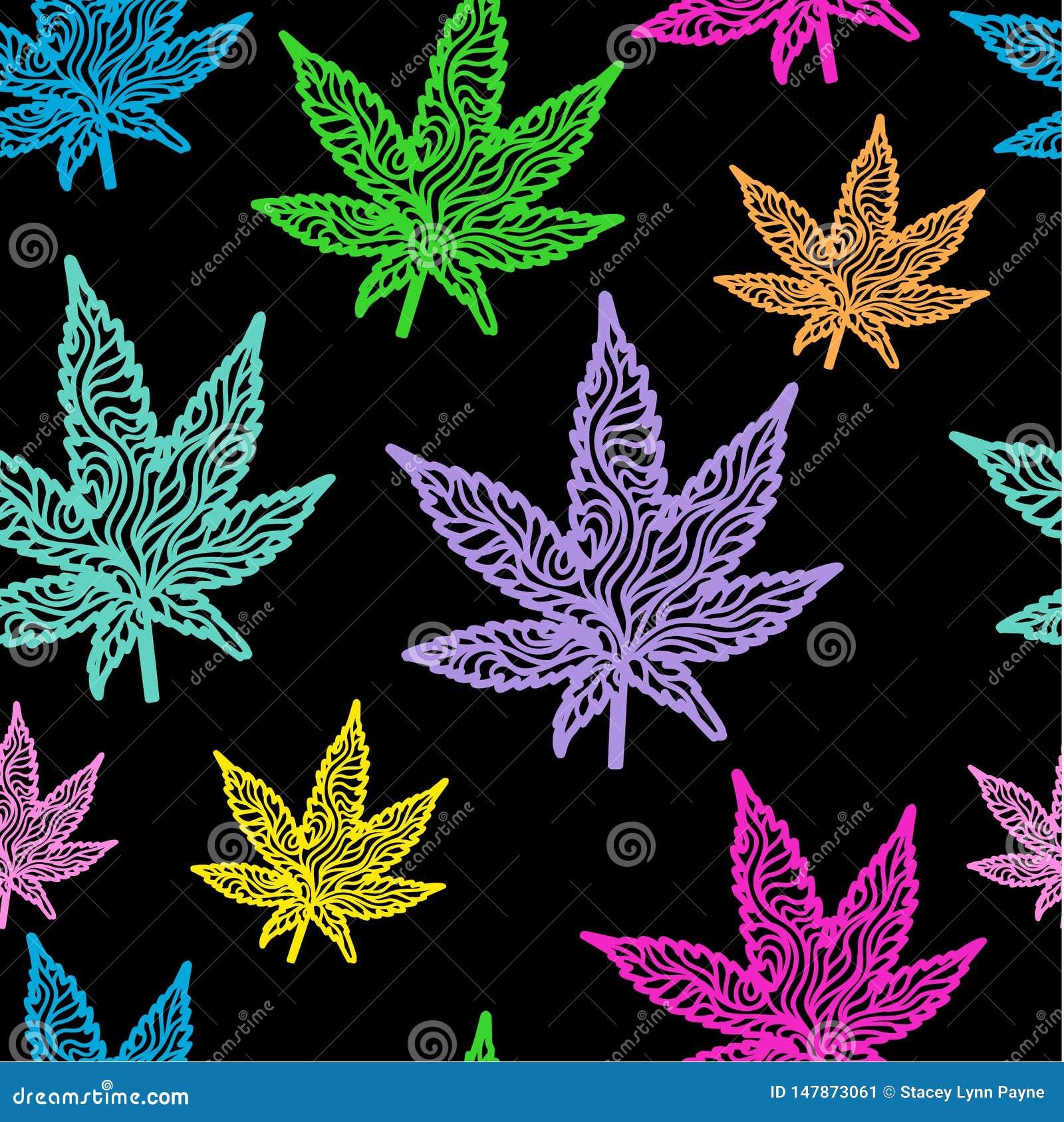 Le cannabis laisse des couleurs au néon sans couture