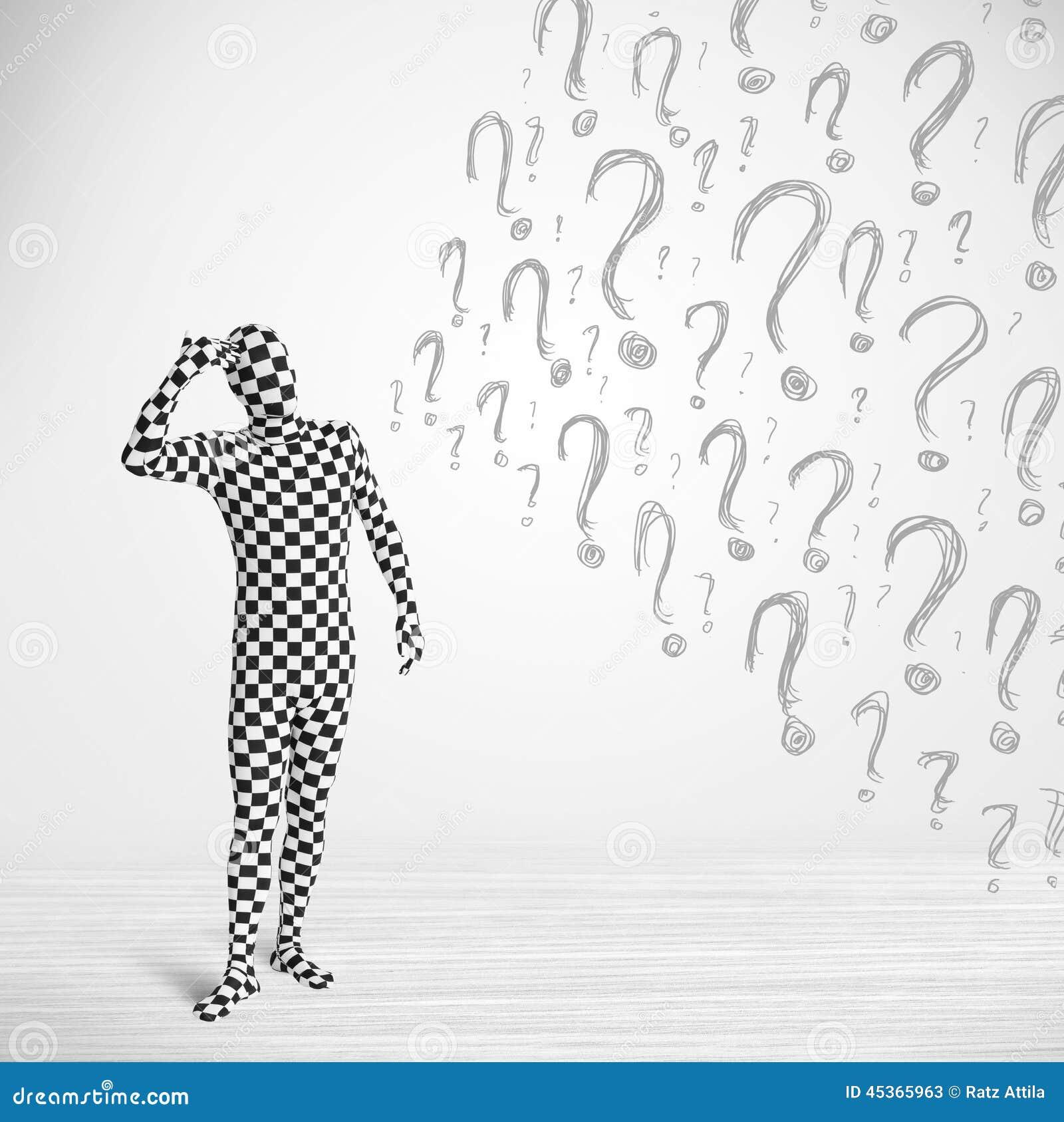 Le caractère 3d humain est costume de corps semblant la question dessinée actuelle m