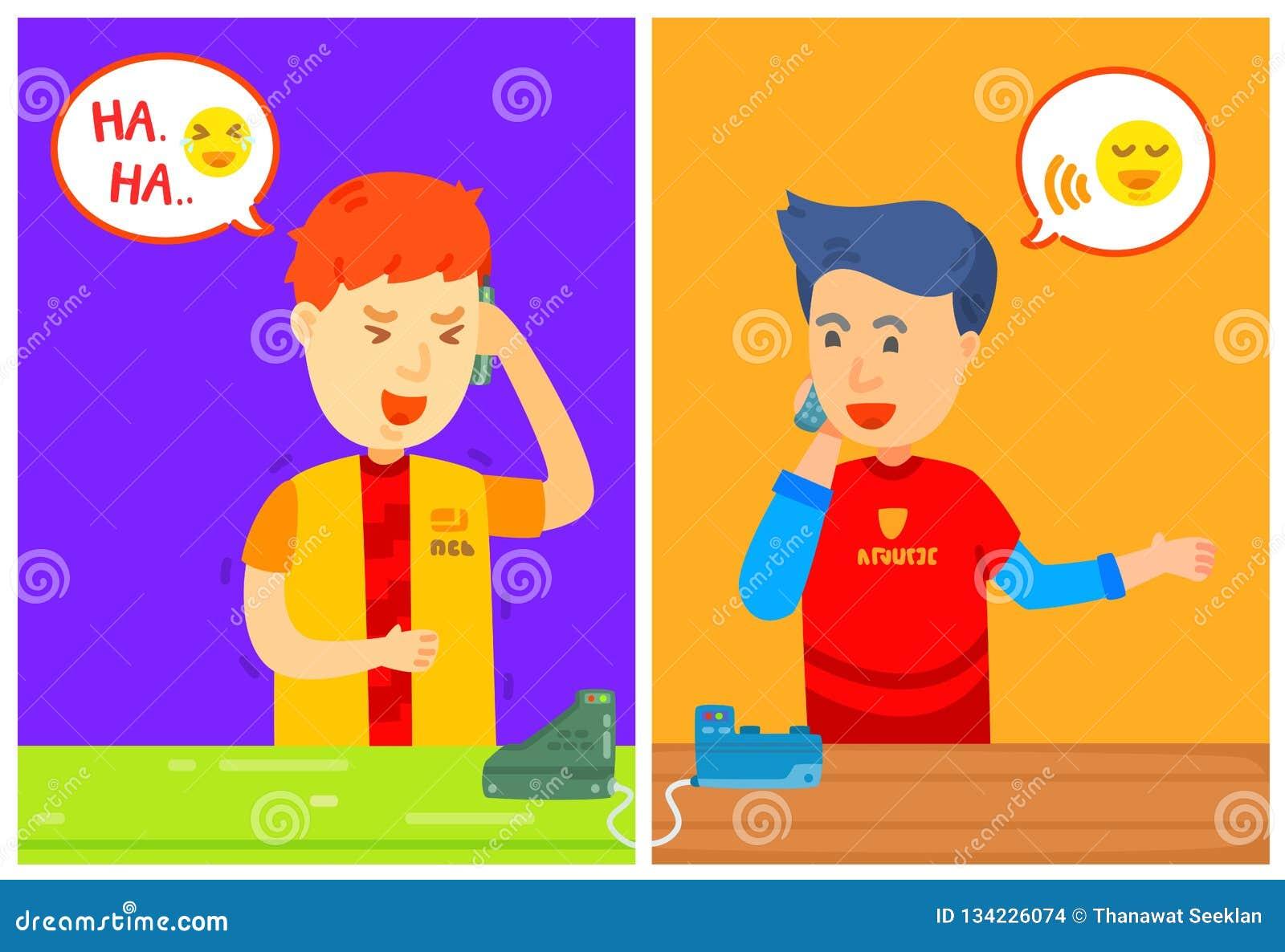 Le caractère de deux types invitant le téléphone avec la boîte de message, maison, soit au téléphone, ils a parlé au téléphone, o