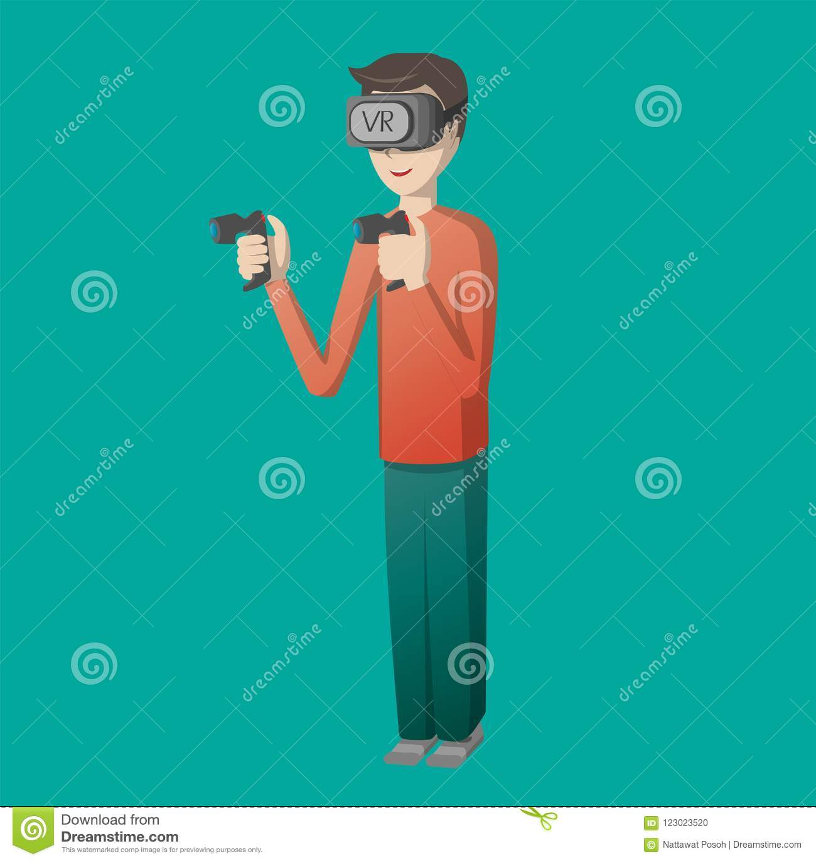 Le caractère de jeune homme jouant le jeu sur des verres de réalité virtuelle usinent l illustration de vecteur de technologie de